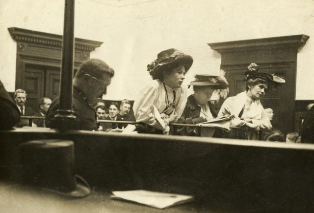 Leading suffragettes in the dock at Bow Street court (Historic England handout/PA)