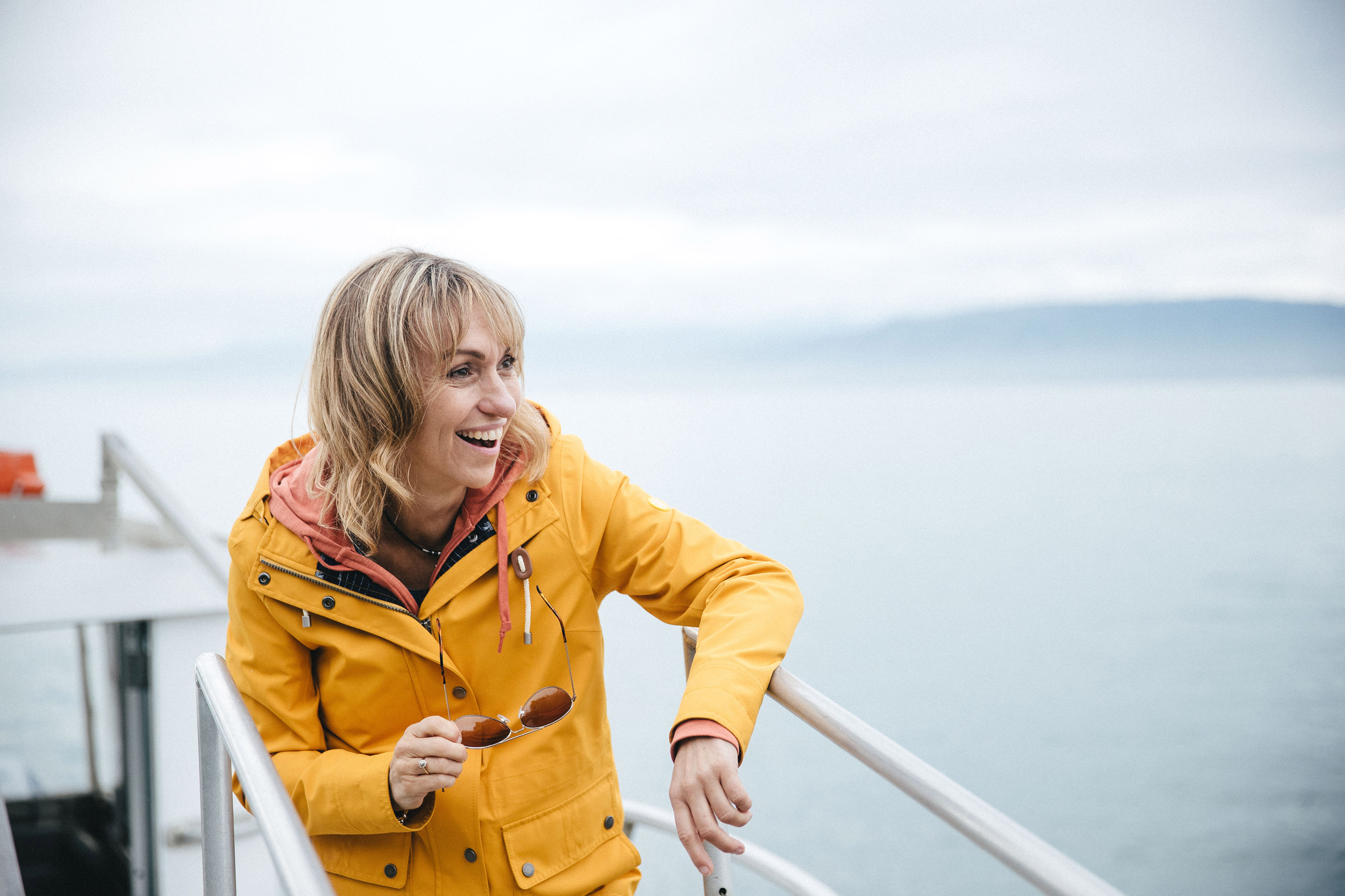 Michaela Strachan on a boat (Old Mout/PA)