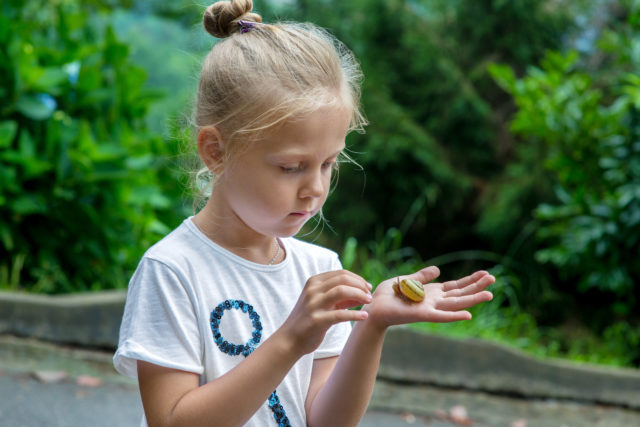 Young girl holding small snail in hand