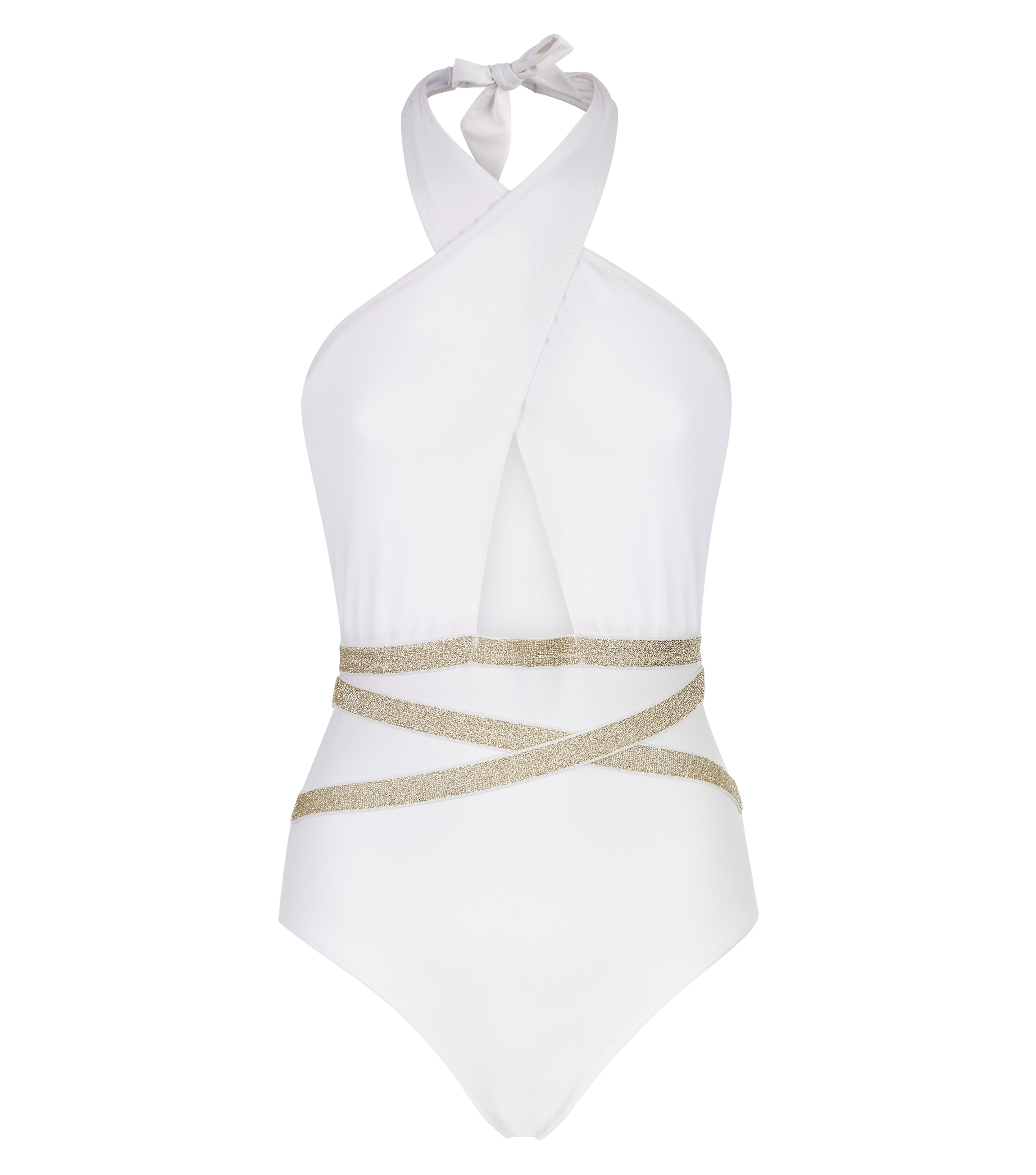 New Look White Glitter Belted Plunge Neck Swimsuit