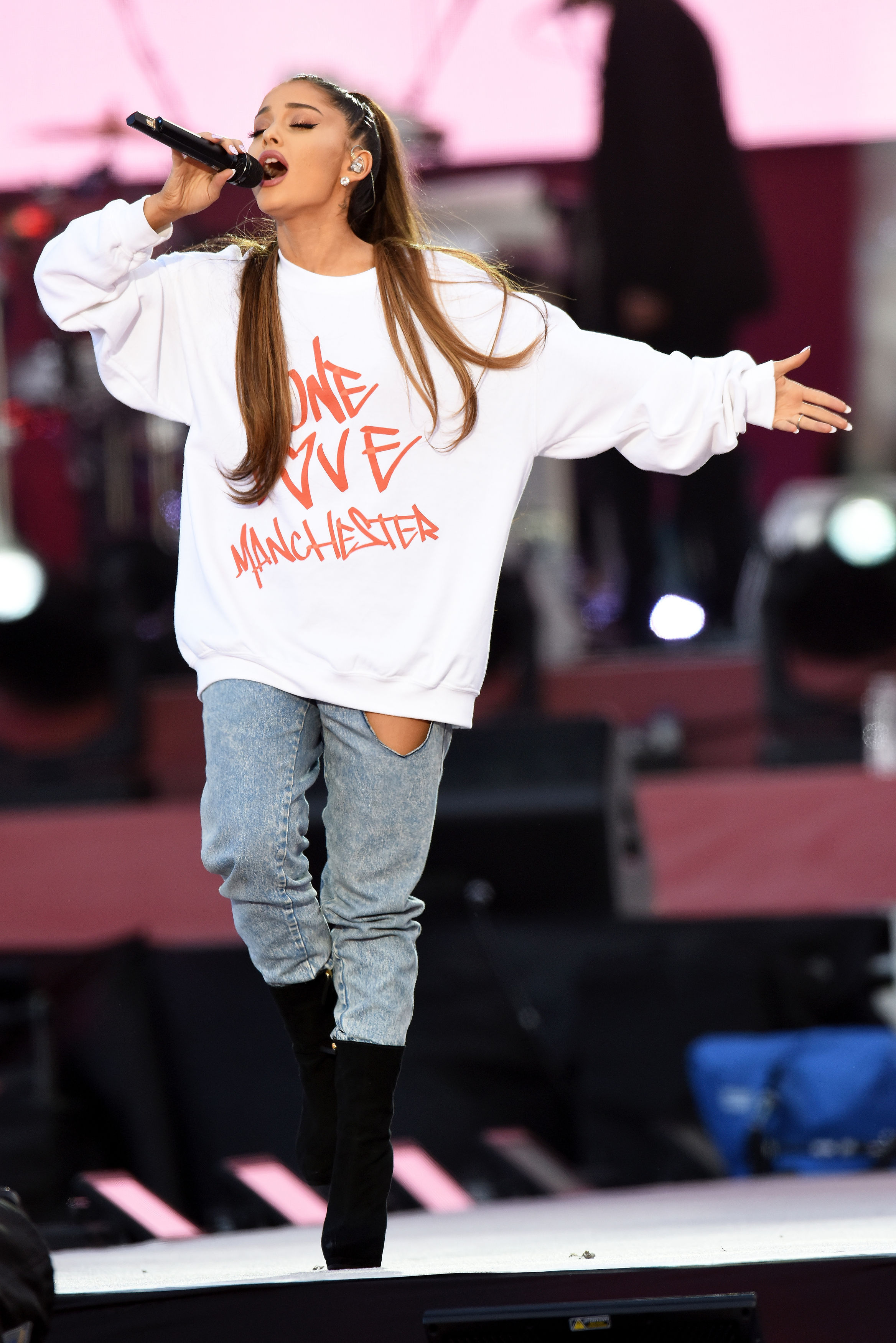 Ariana Grande performing during the One Love Manchester benefit concert for the victims of the Manchester Arena terror attack at Emirates Old Trafford, Greater Manchester