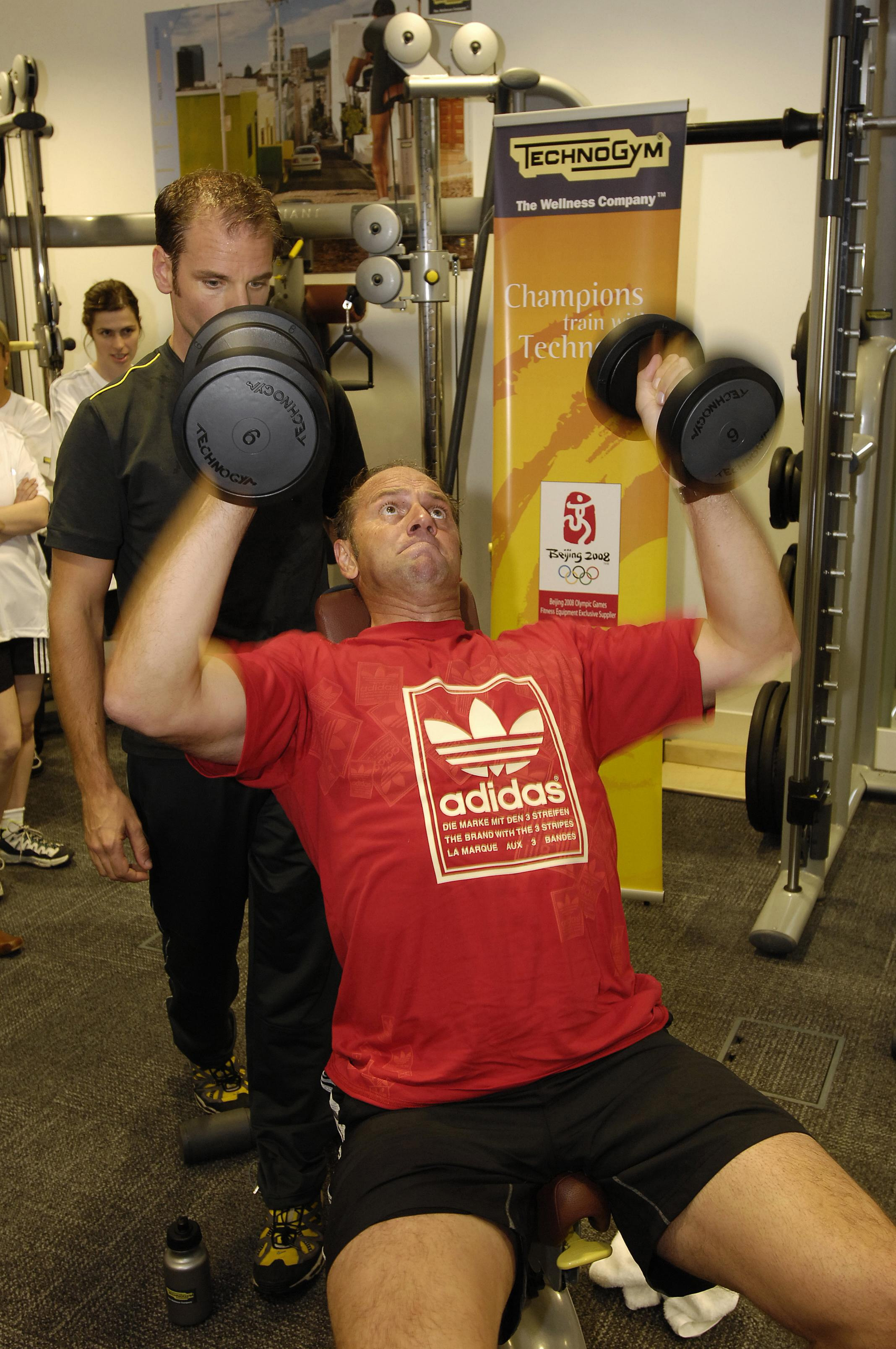 Steve Regrave exercising using Technogym fitness equipment. (PA Photo/Handout)