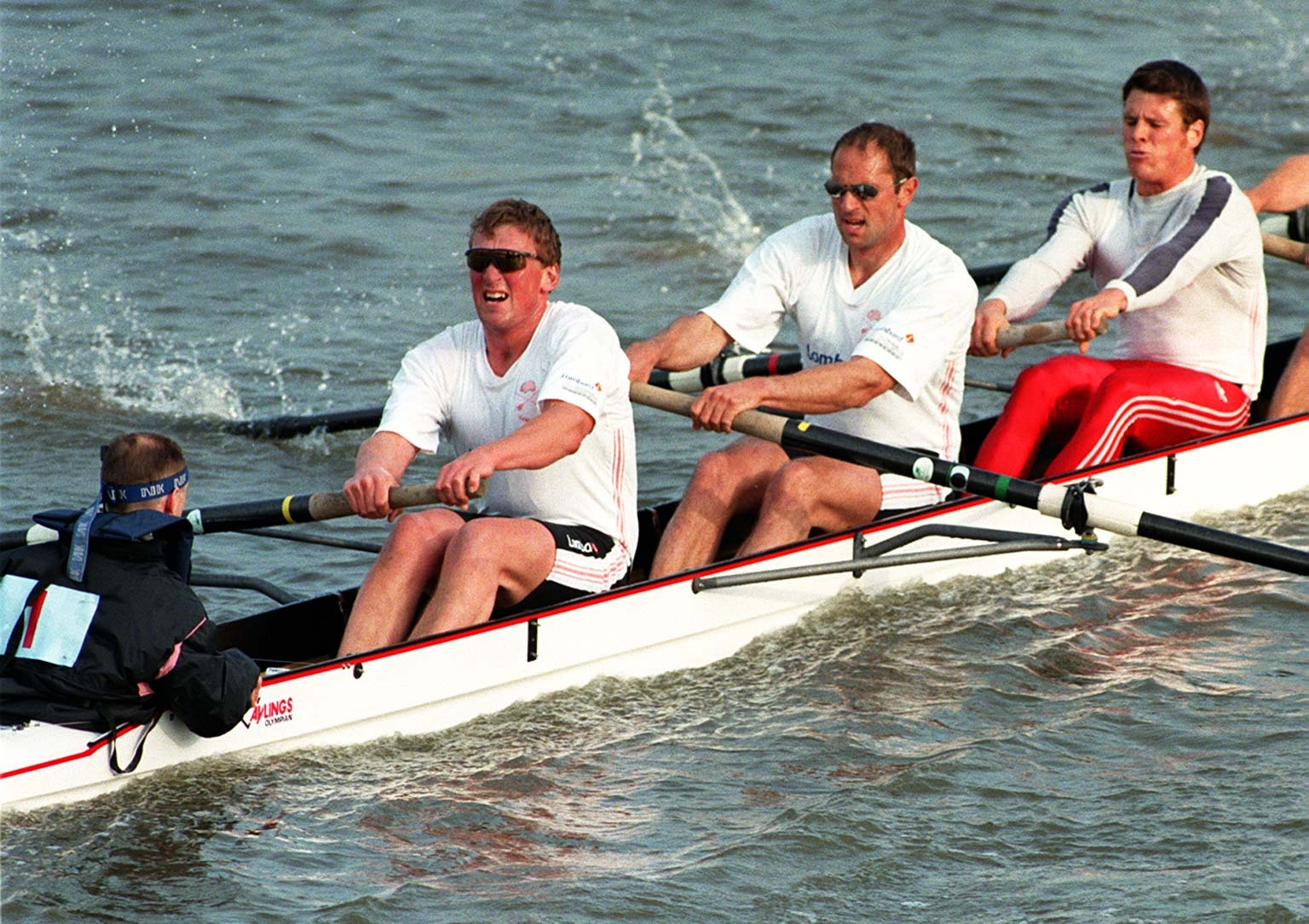 Olympic hero Steve Redgrave (centre) competing in 1997, the year he was diagnosed. He is with team mate, Matthew Pincent (second left), in the Leander crew for the Eights Head of the River Race,London. (Neil Munns/PA)