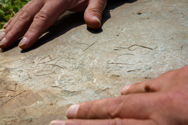 The stone's engraving includes Latin writing, Greek letters and Christian symbols (Christopher Ison/English Heritage/PA)