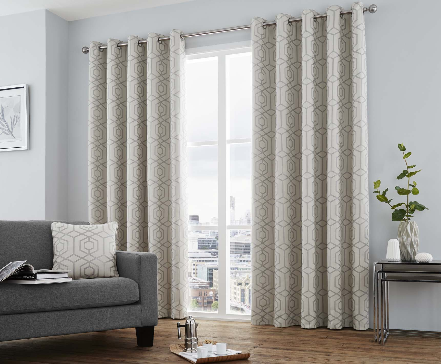 Camberwell Ready Made Lined Eyelet Curtains Silver, Currently Reduced To