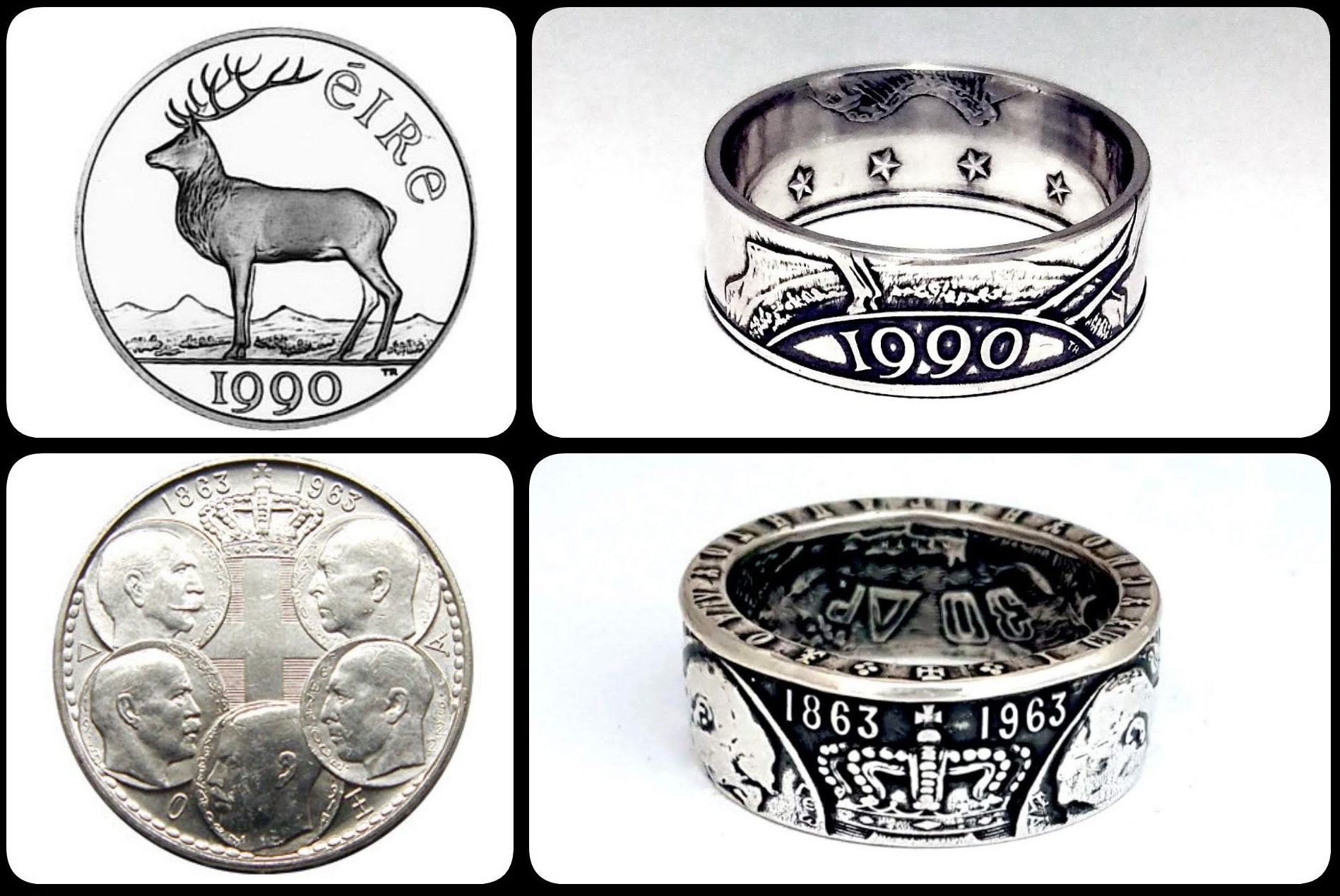Rings made from coins, by Celtic Coin Craft