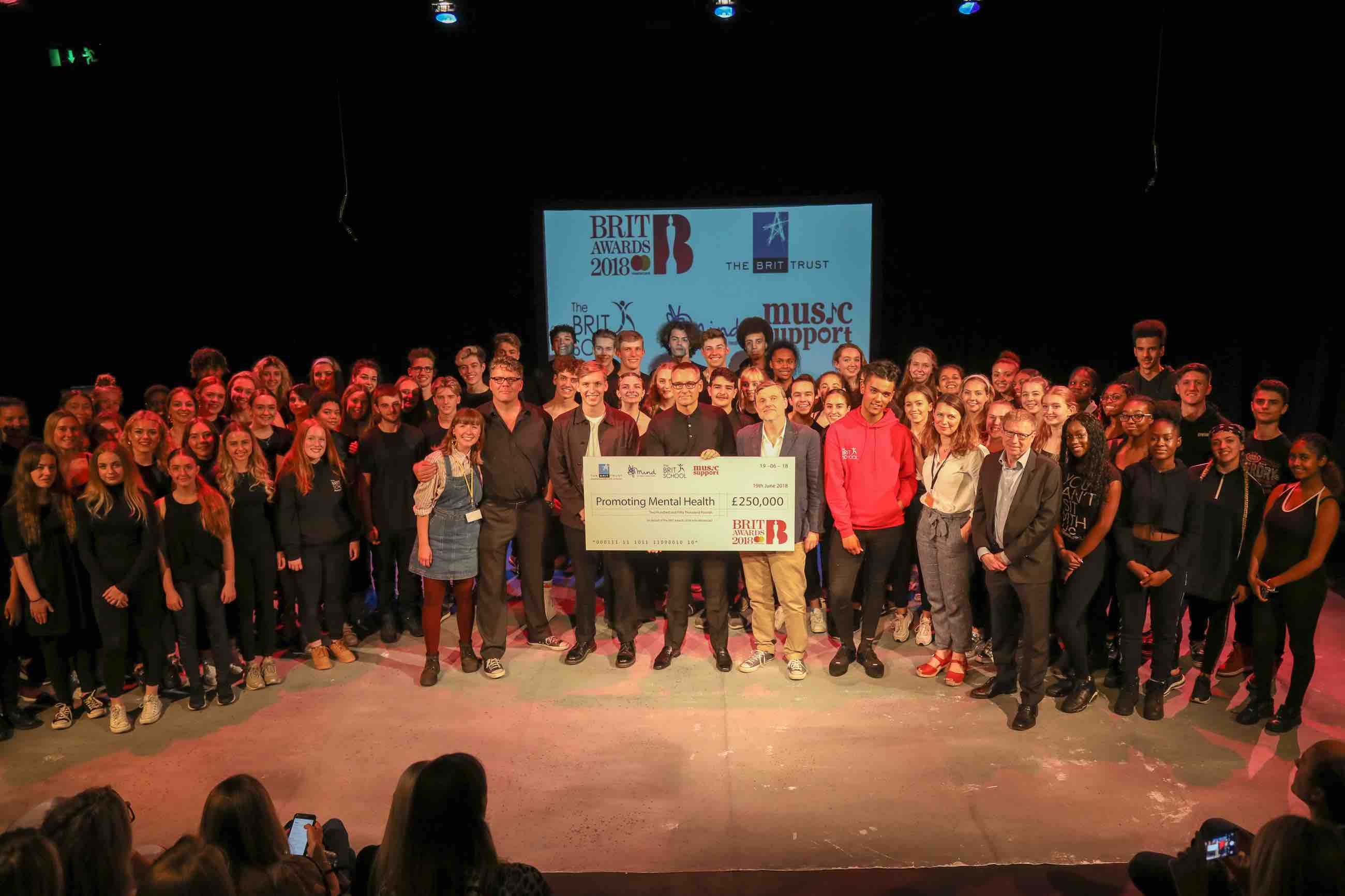Mind, Music Support and The BRIT School BRITs Cheque presentation