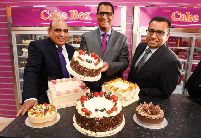 Pardip Dass (right) and Sukh Chamdal (centre) launched the Cake Box franchise in 2009