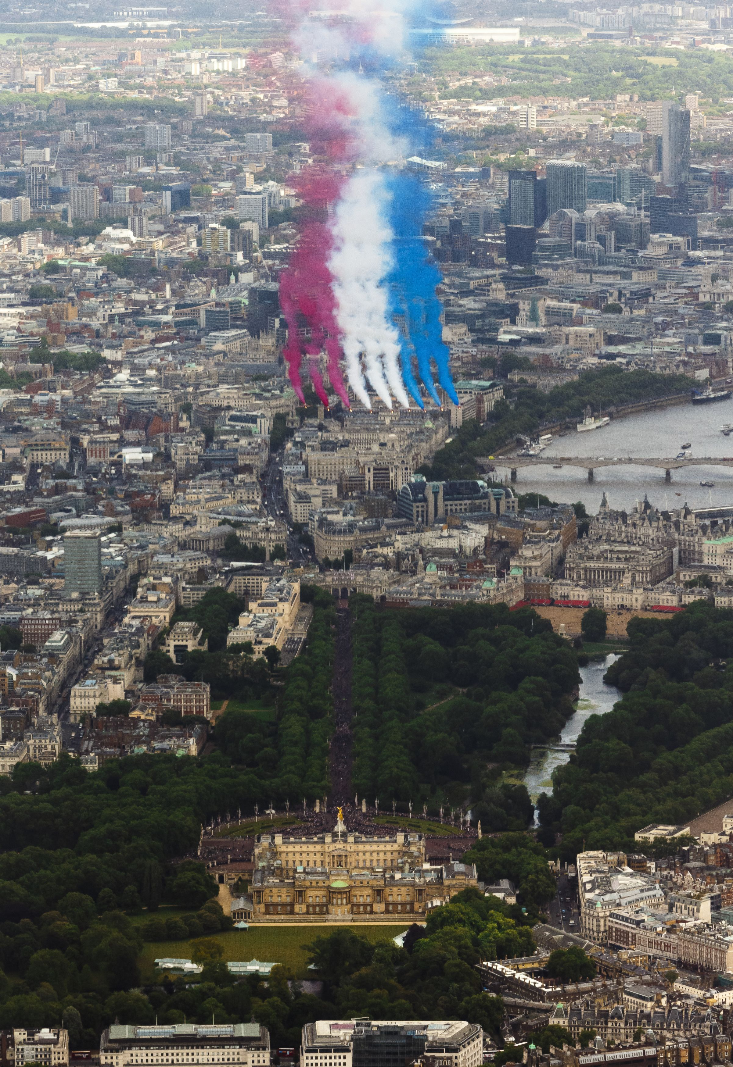 The RAF Red Arrows perform a flypast over Buckingham Palace, central London, following the Trooping the Colour