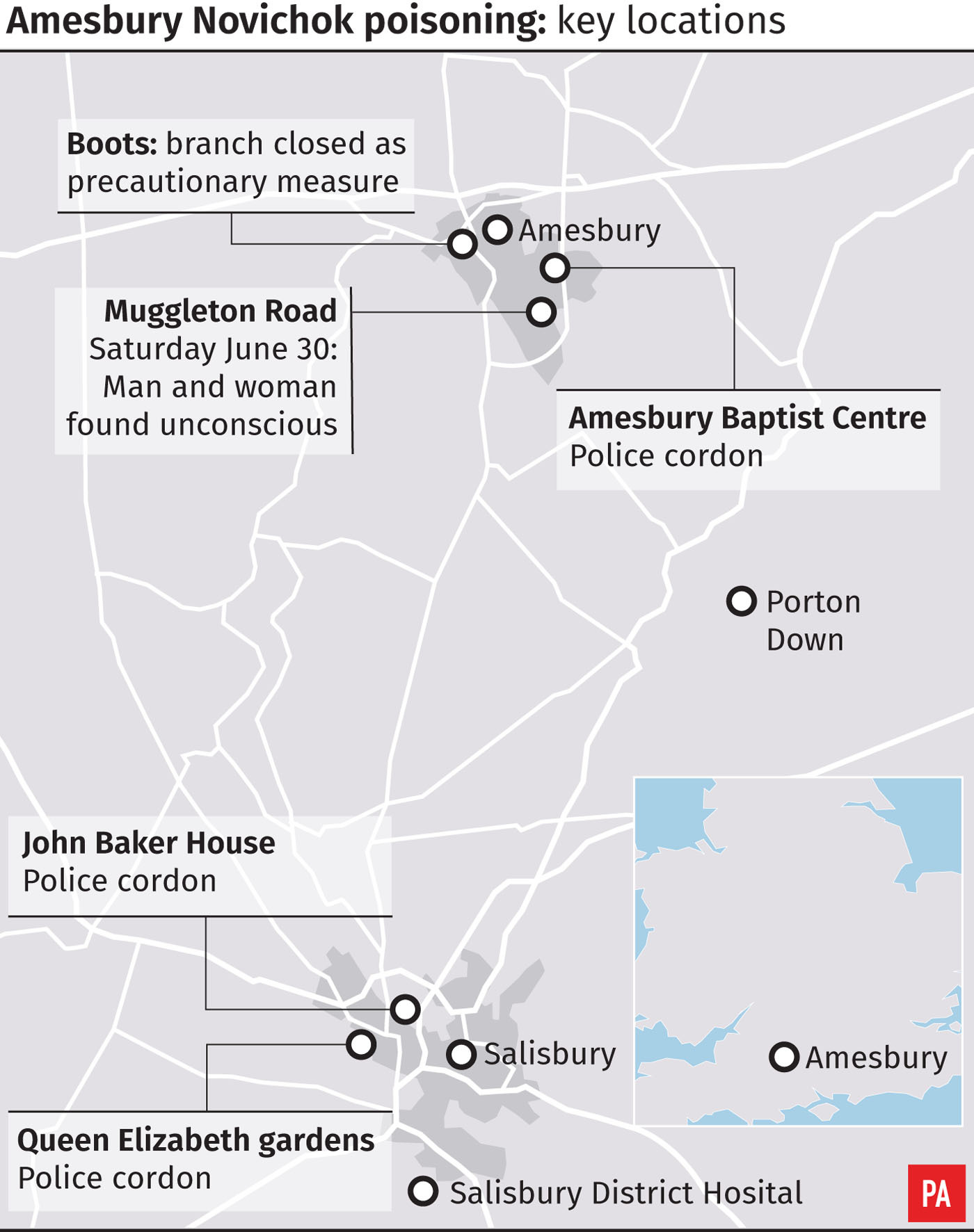 Amesbury Novichok poisoning - key locations
