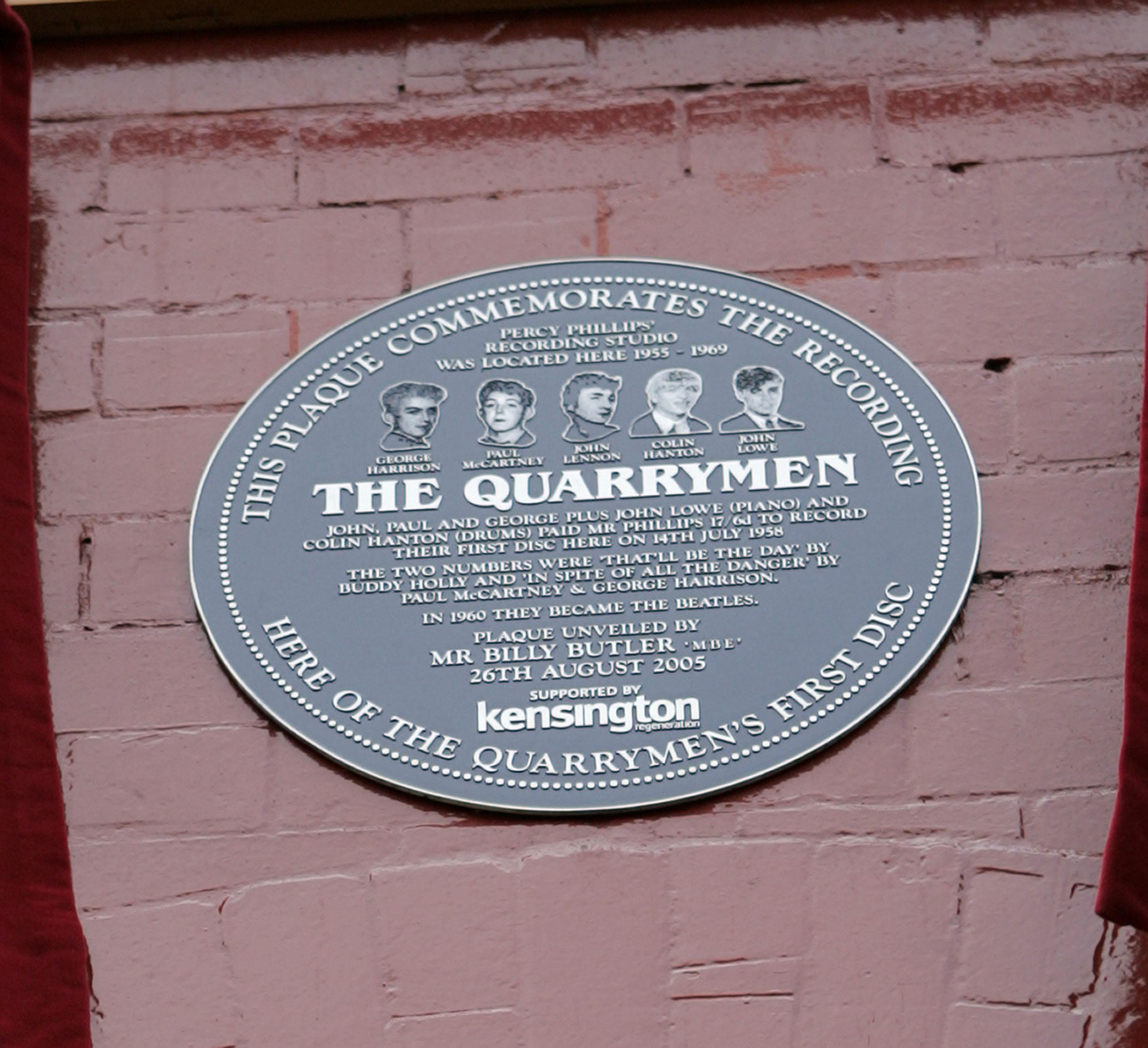 A plaque celebrating The Quarrymen