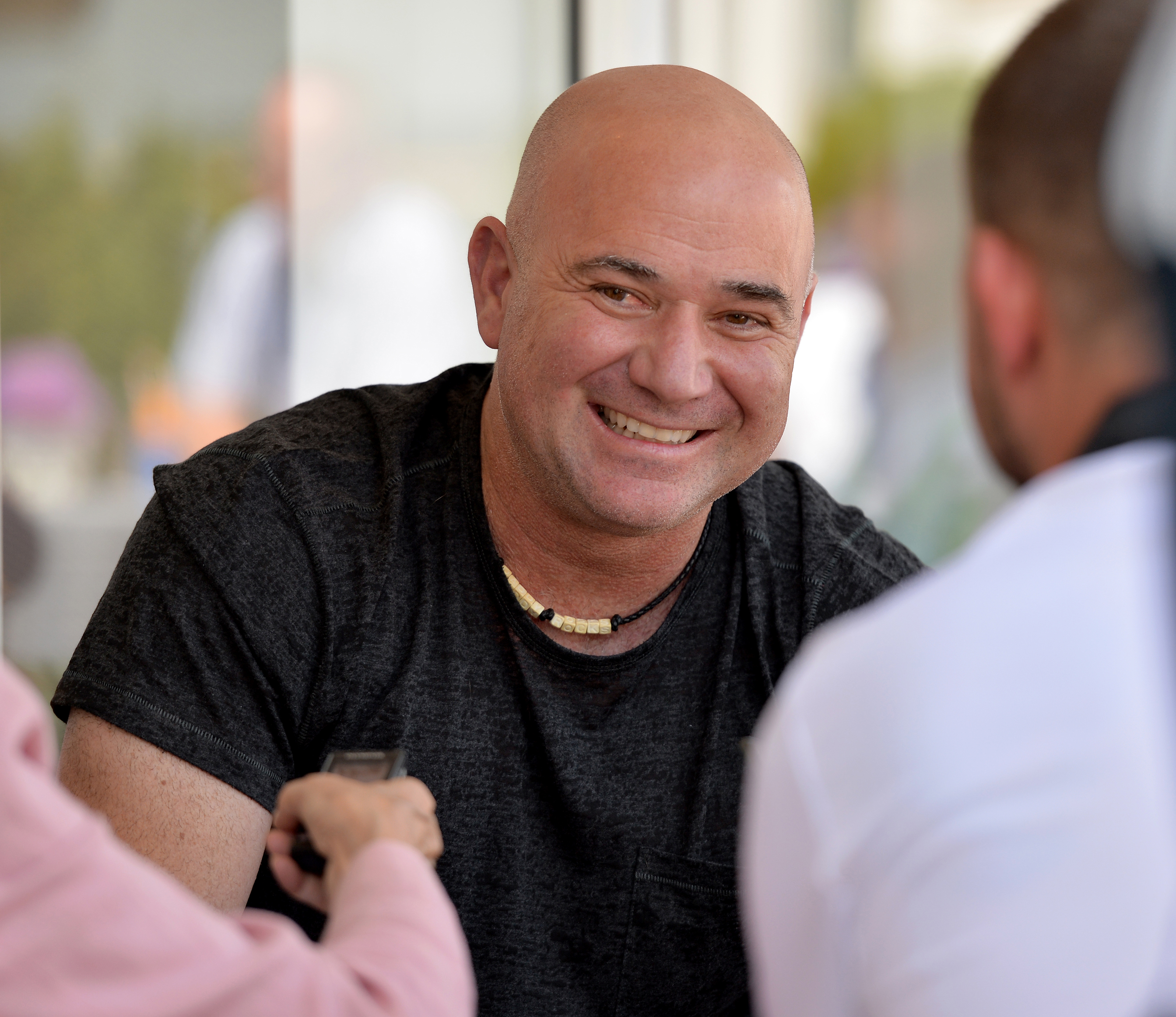 Andre Agassi, global ambassador for coffee company, Lavazza at Wimbledon, July 2017 (Graham Flack/Lavazza/PA)