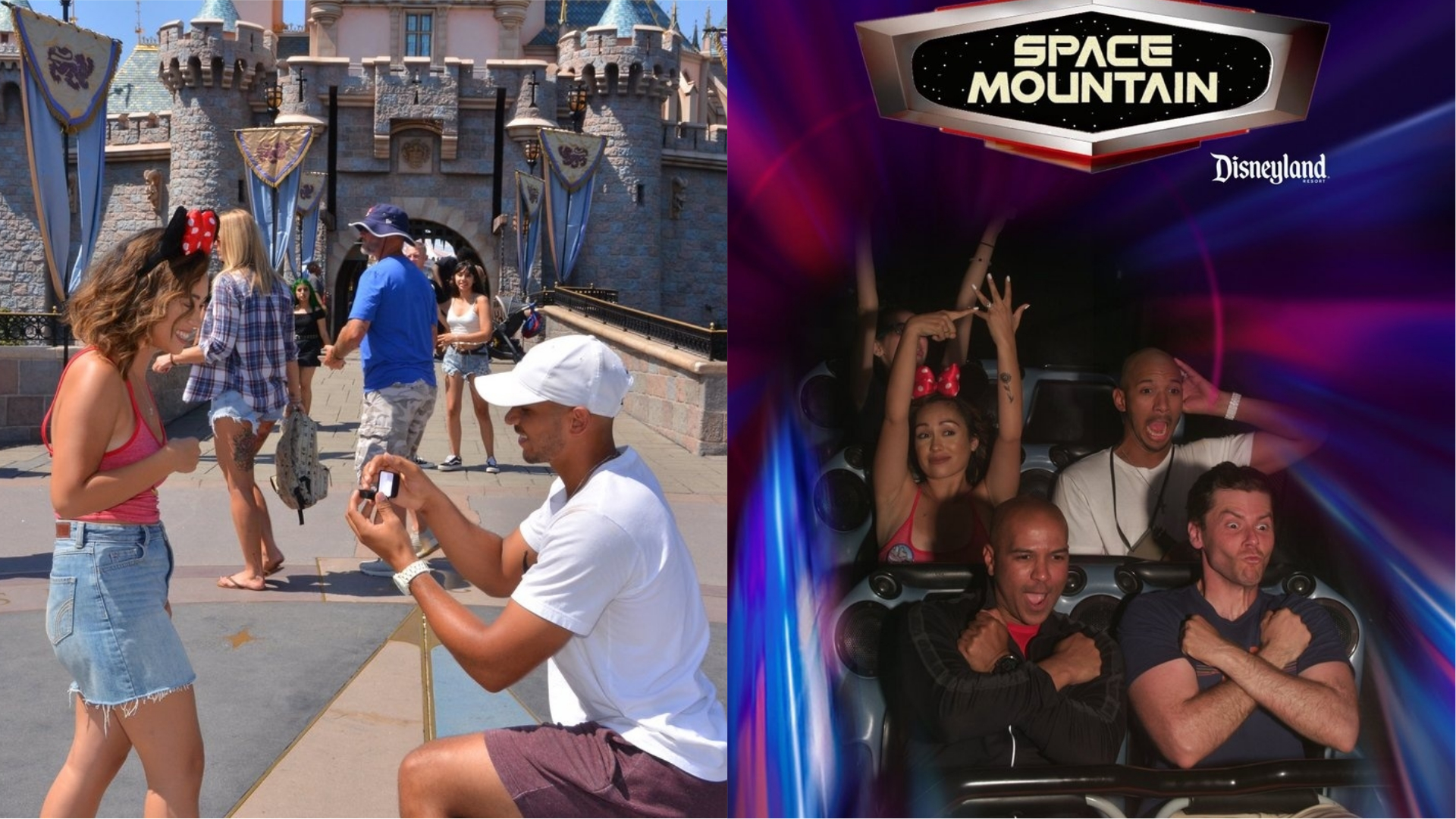 A Disneyland proposal followed by a celebration on Space Mountain