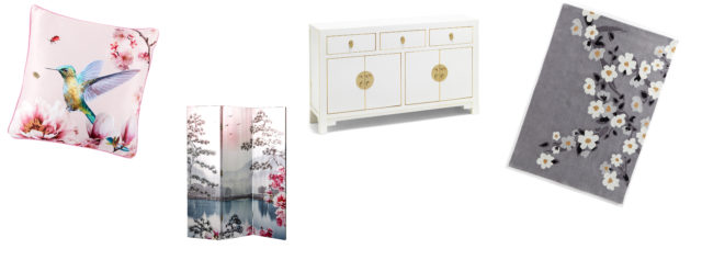 (L-R) Arthouse Kotori Blush Cushion, £19.99, Very; Arthouse Kotori Blush Screen Room Divider, currently reduced to £79.99 from £99.99, Very; Qing White Large Sideboard, £549, The Nine Schools; Hand Carved Blossom Rug, from £119.99-£299.99, Studio (Very/The Nine Schools/Studio/PA)
