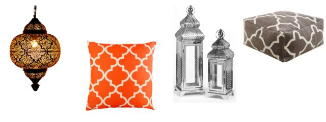 (L-R) Moroccan 1-Light Mini Pendant, £286.99, Wayfair; Aero Cushion Cover, £12.99, Wayfair; Set of 2 Silver-Plated Lanterns, currently reduced to £22 from £49.99, Studio; Kaikoo Eastern Palace Tile Print Slab, £44.99, Very (Wayfair/Studio/Very/PA)