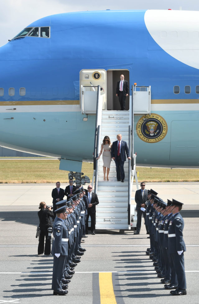 Donald and Melania Trump at Stansted
