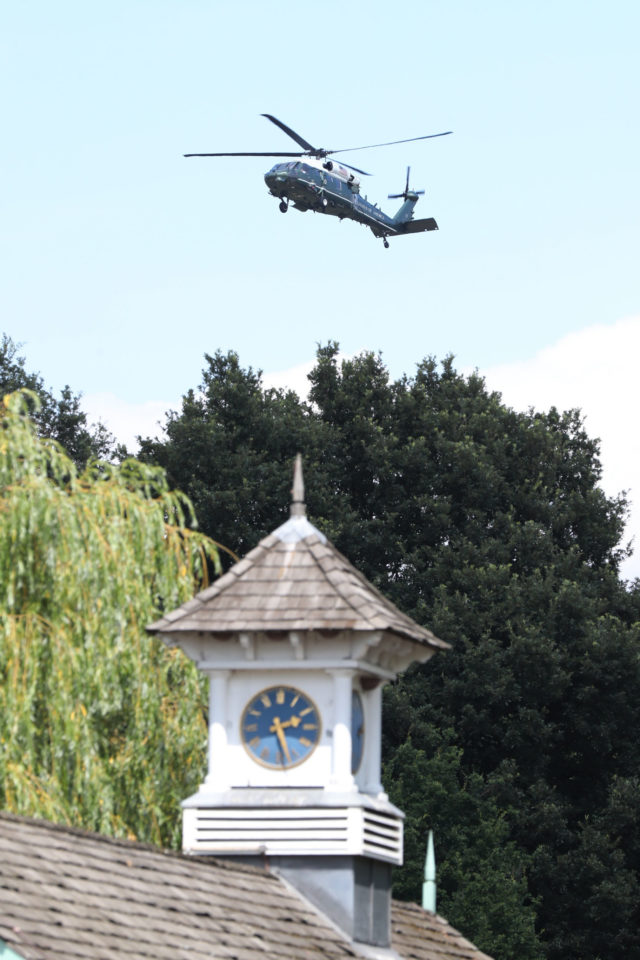 A US Marine Corps helicopter flies near the residence of the US Ambassador in London's Regent's Park
