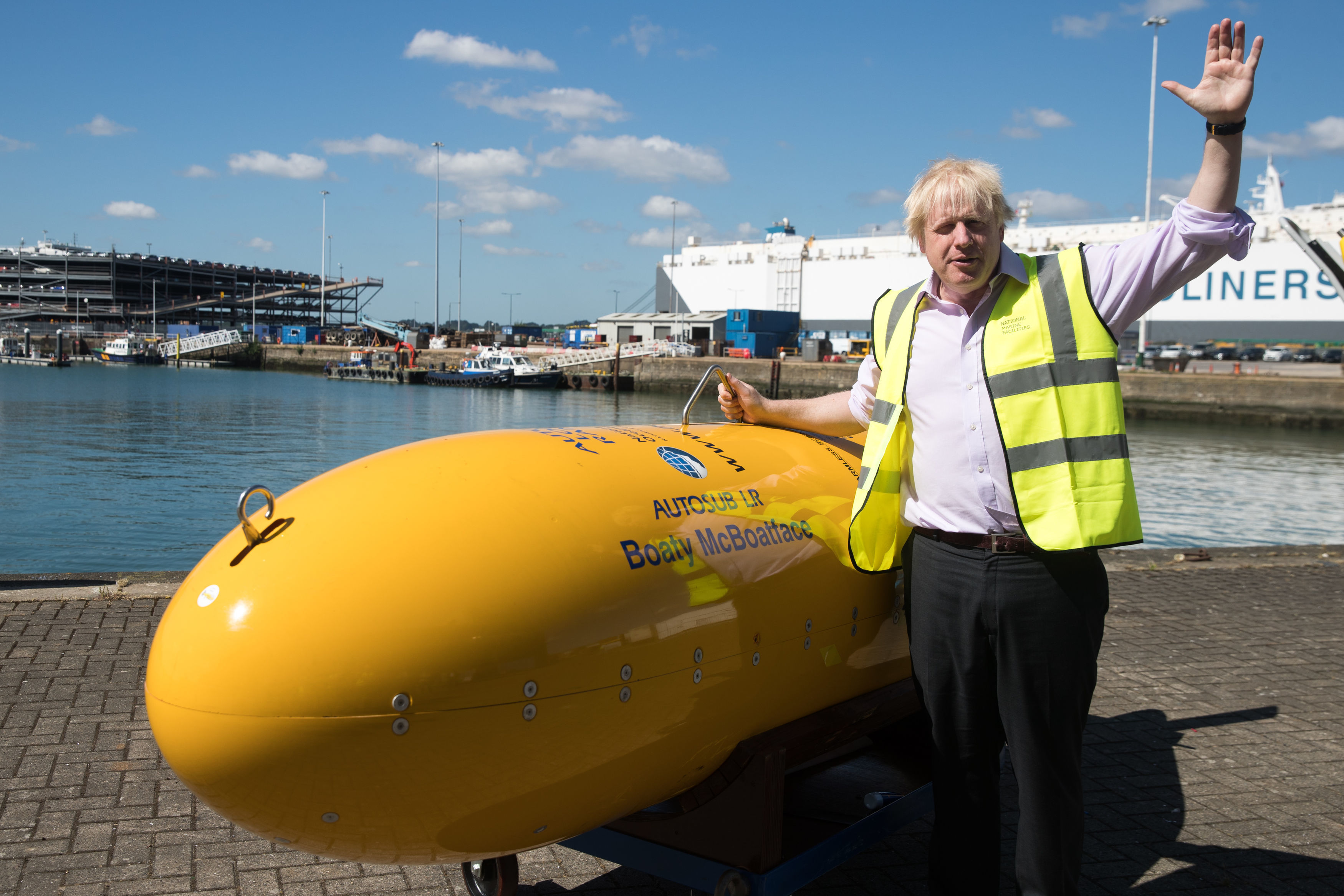 Former Foreign Secretary, Boris Johnson, with Boaty McBoatface, an autonomous underwater vehicle used for scientific research