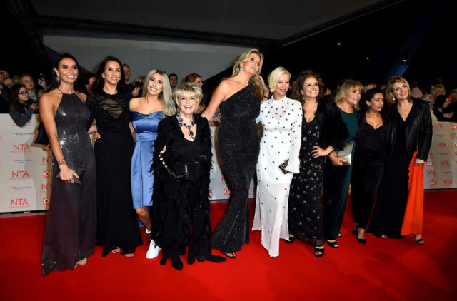 Loose Women's (left-right) Christine Lampard, Andrea McLean, Stacey Solomon, Gloria Hunniford, Penny Lancaster, Denise van Outen, Nadia Sawalha, Linda Robson, Saira Khan and Kaye Adams attending the National Television Awards 2018, London (Matt Crossick/PA)