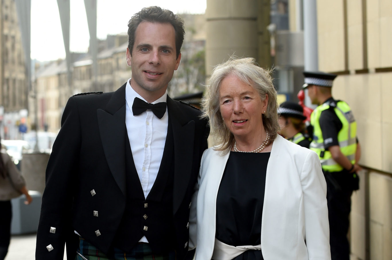 Mark Beaumont and his mother Una attending the dinner