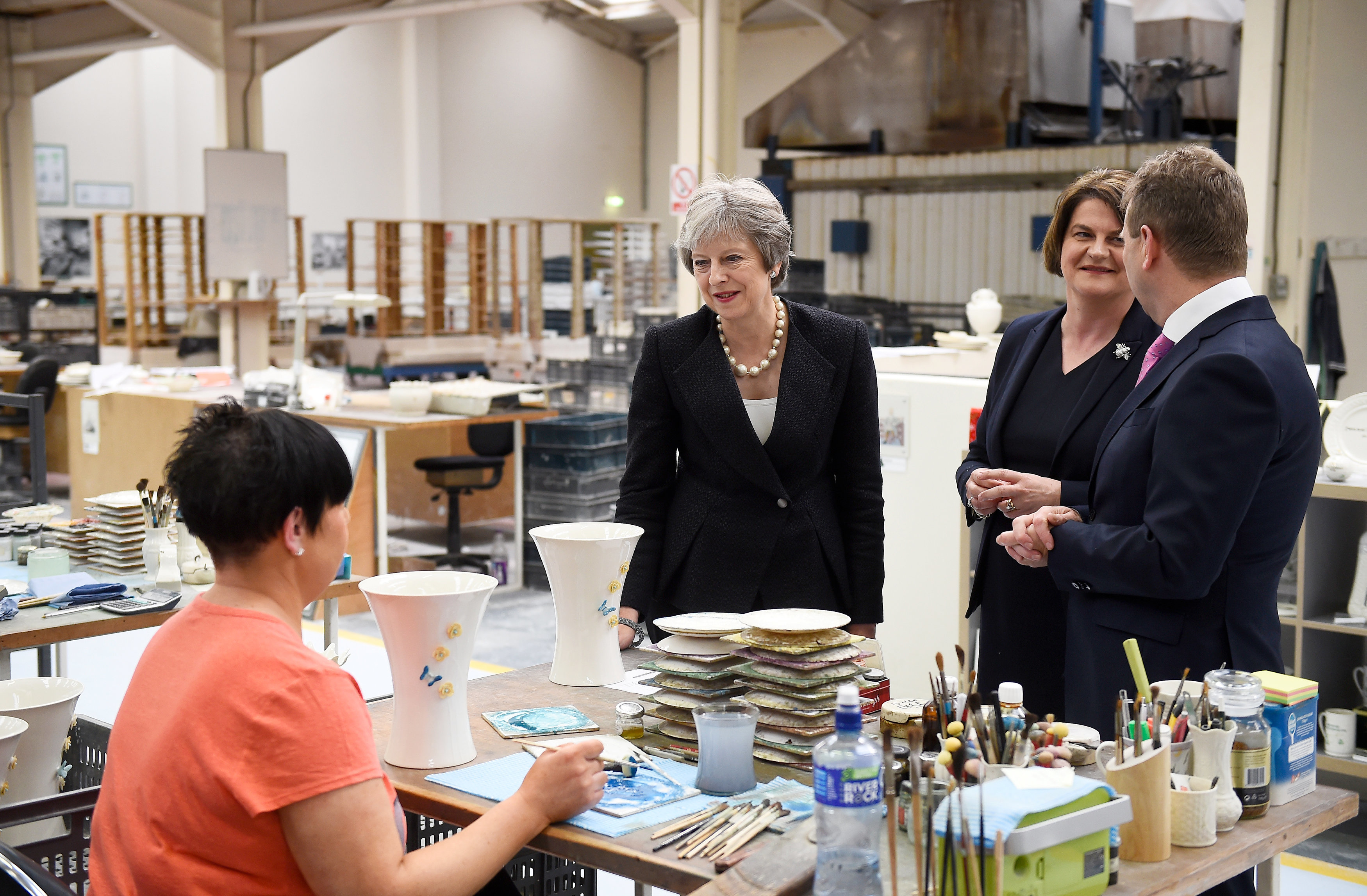 Theresa May and DUP leader Arlene Foster at the Belleek Pottery factory