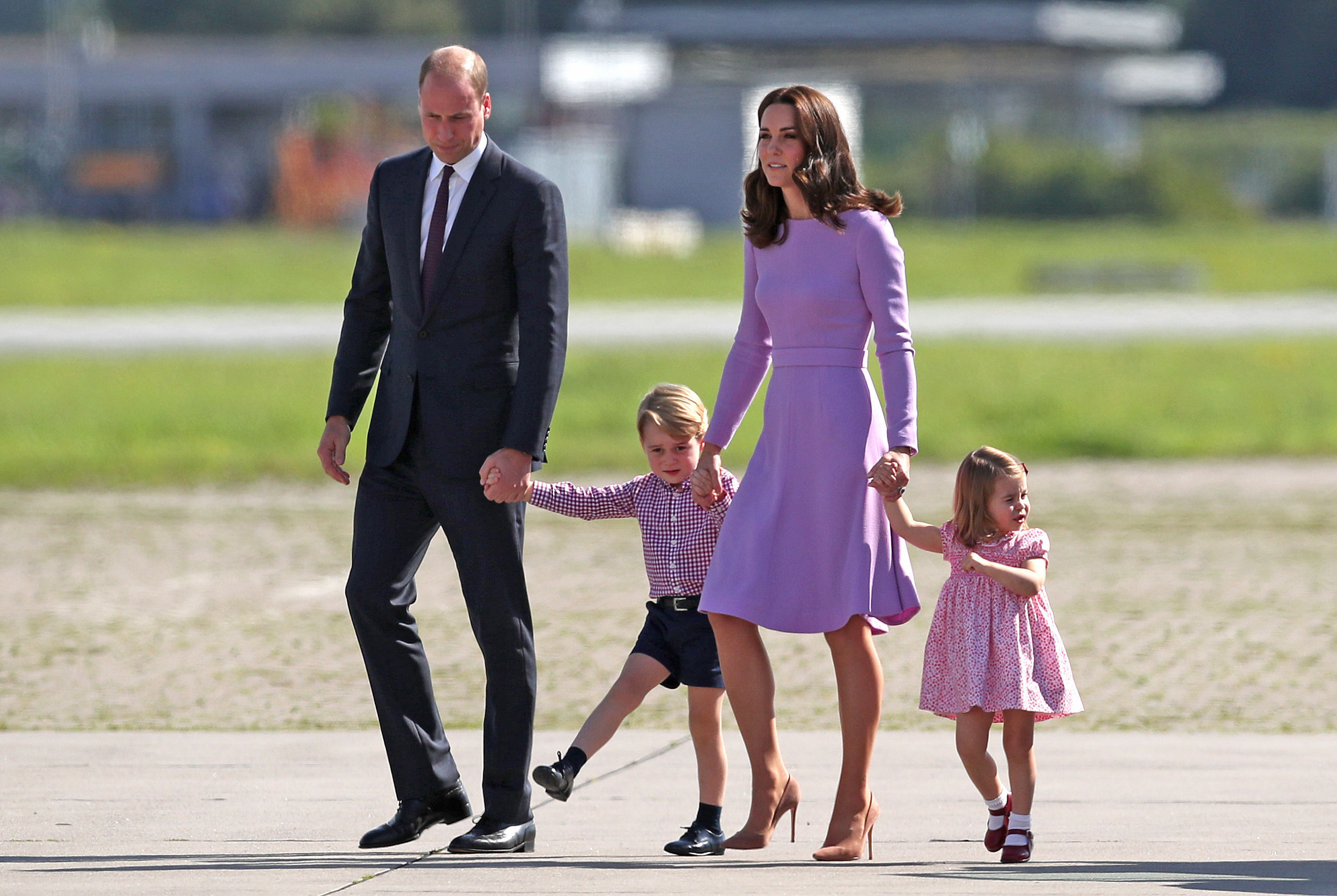 The Duke and Duchess of Cambridge and their children, Prince George and Princess Charlotte, visit Airbus in Hamburg, Germany