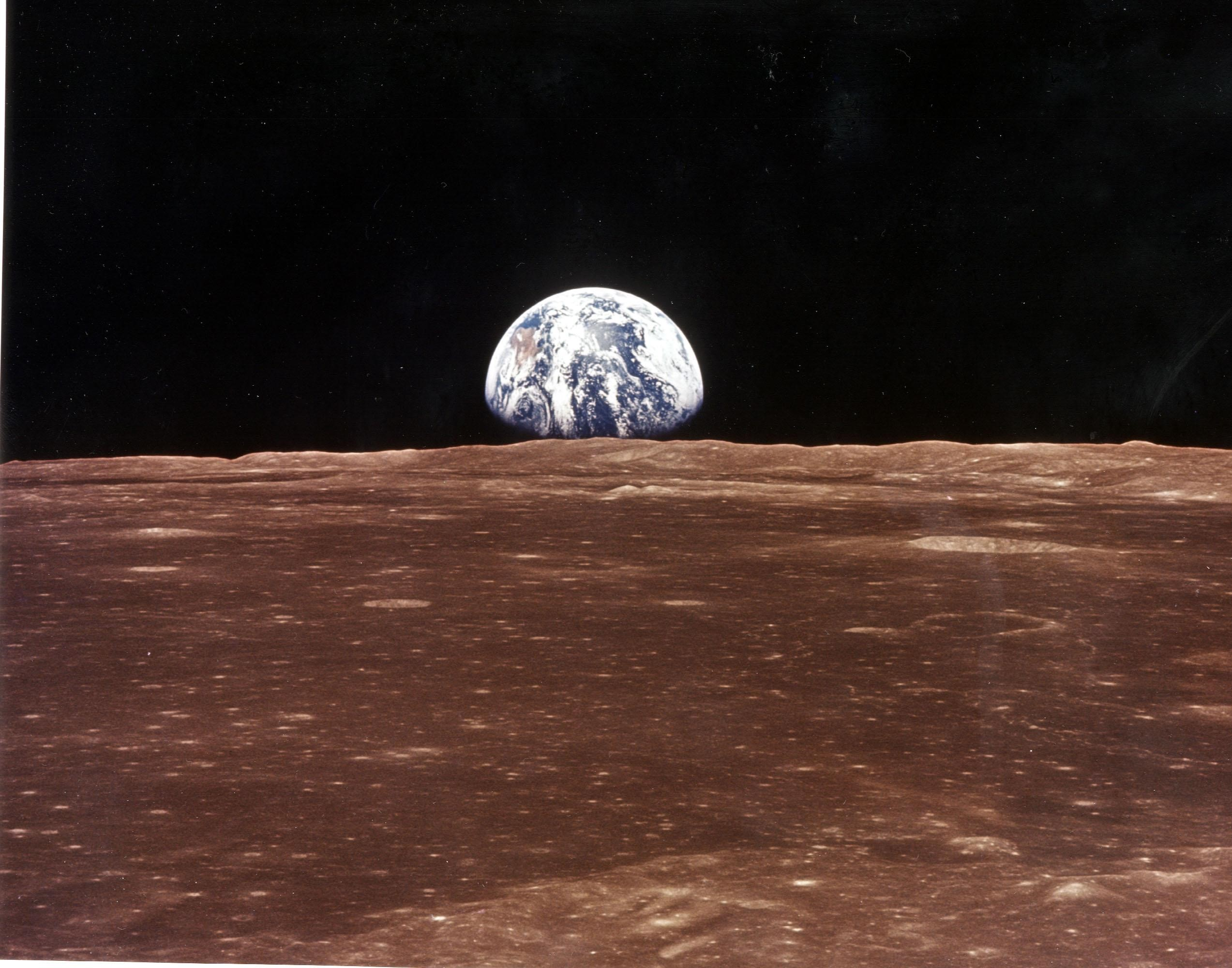 A photo taken by astronauts from NASA Apollo 11 of Earth from the Moon