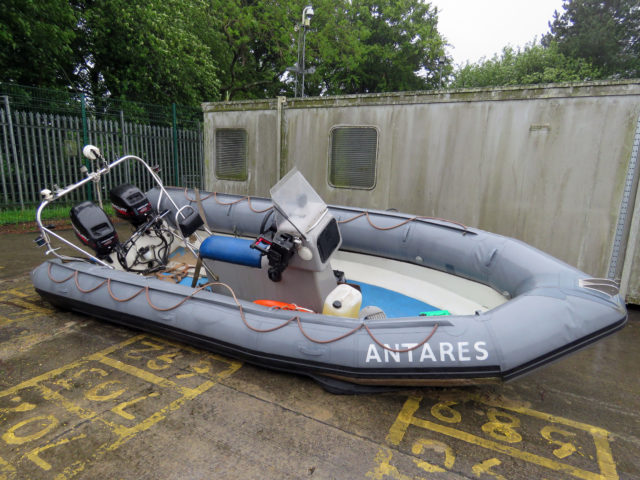 The Antares RHIB was abandoned by the gang.