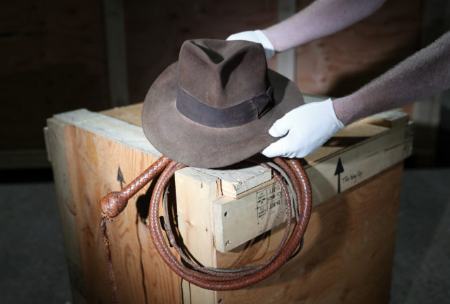 4a18f76e76fe7 The fedora and bullwhip used by Harrison Ford in Raiders Of The Lost Ark  and Indiana Jones And The Temple Of Doom respectively are to go on sale  (Andrew ...
