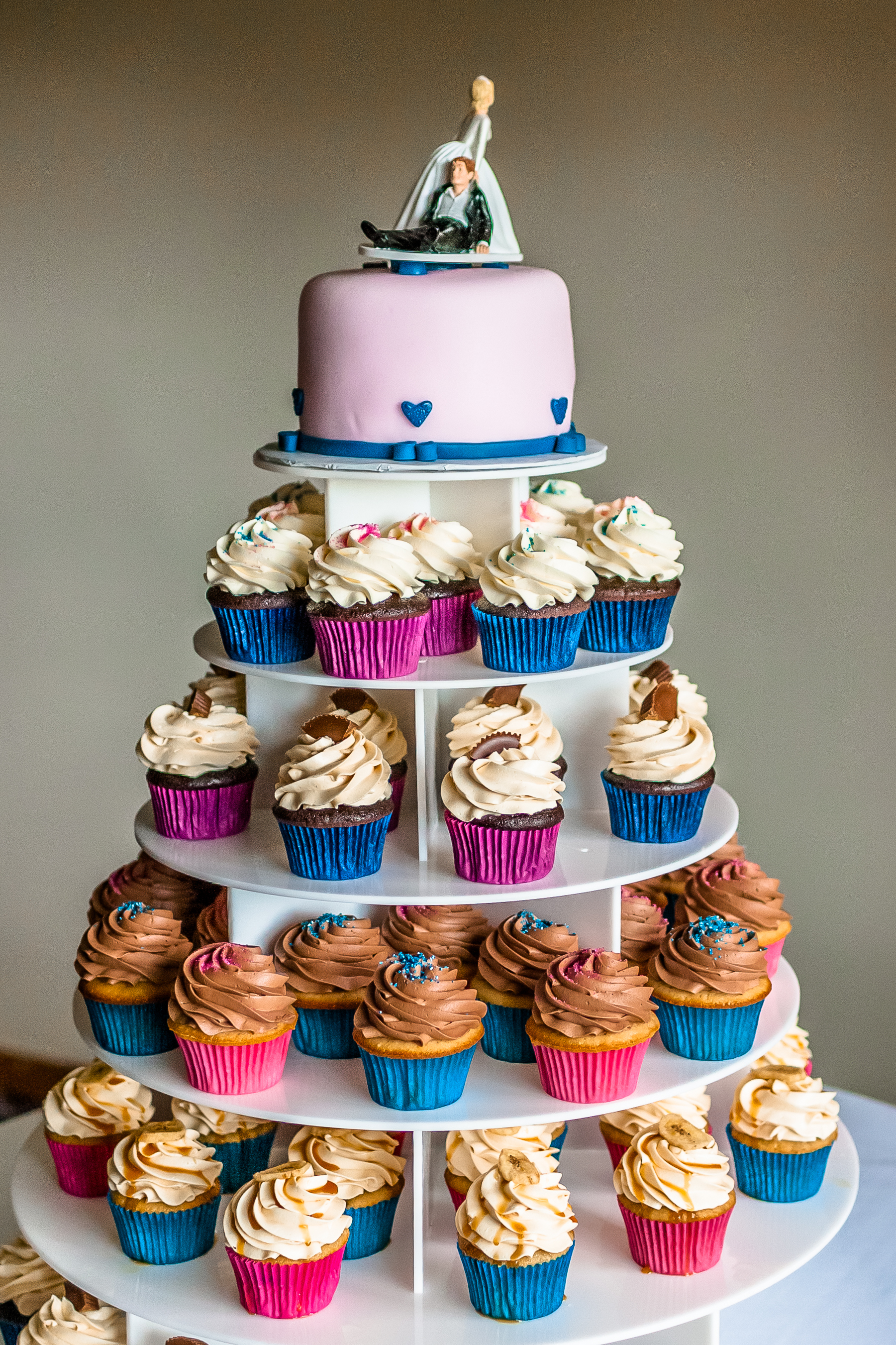 Wedding cupcakes on tower stand