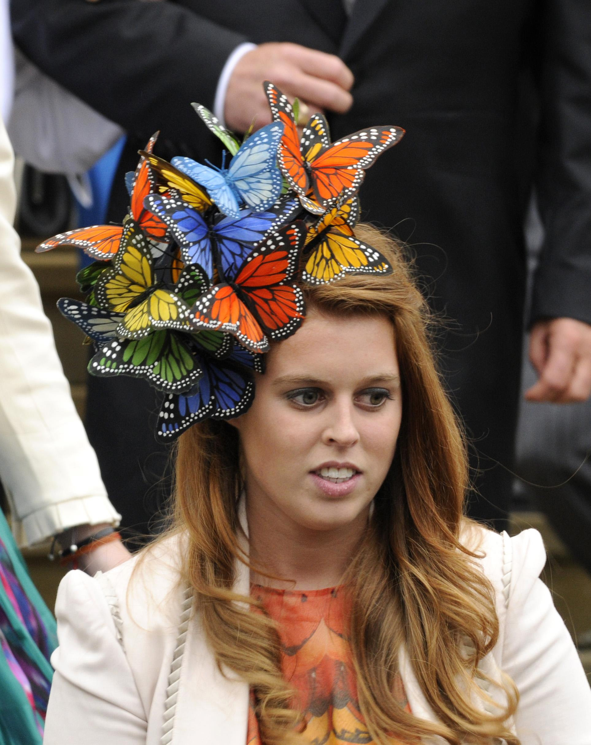 Princess Beatrice outside St. George's Chapel in Windsor, England, after the marriage ceremony of Peter Phillips and Autumn Kelly.