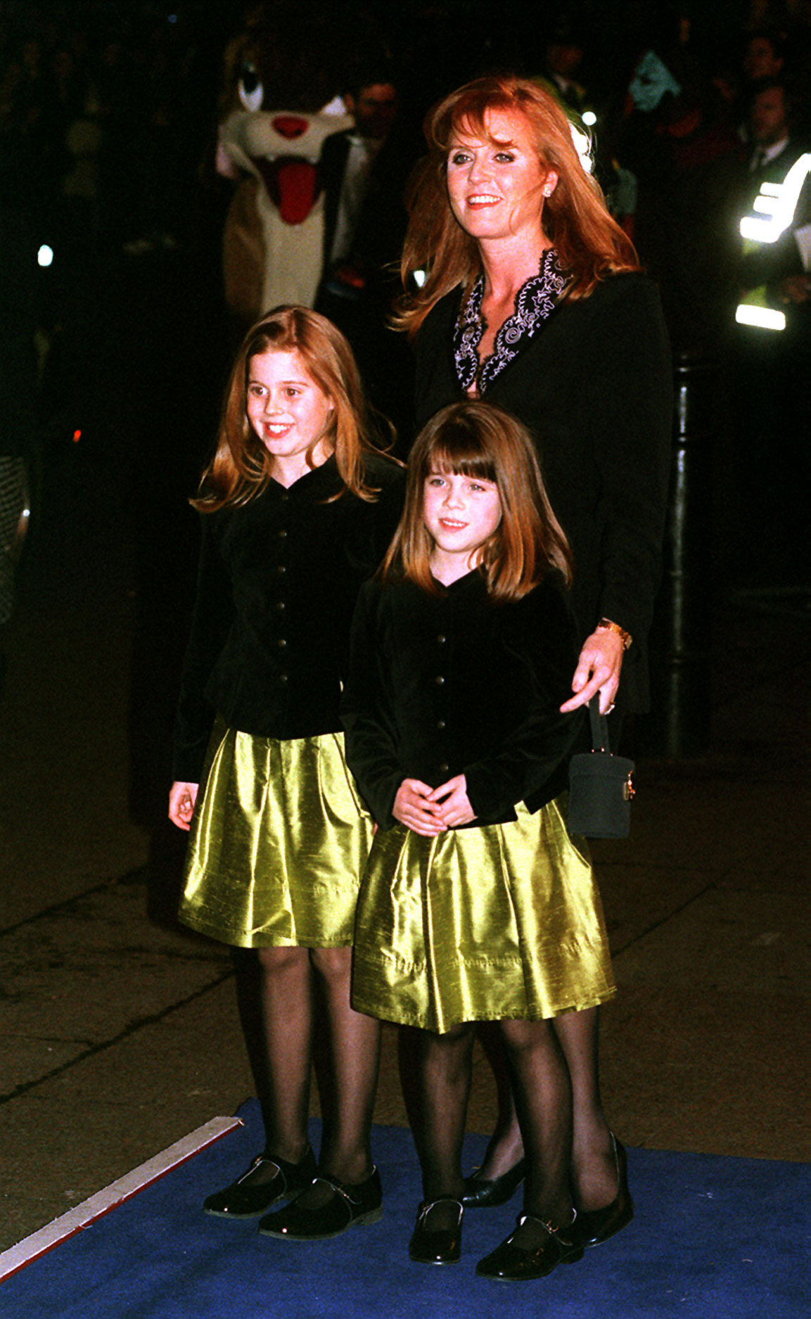 "THE DUCHESS OF YORK ARRIVES WITH HER DAUGHTERS PRINCESS BEATRICE AND EUGENIE FOR THE MOVIE PREMIERE OF THE FOX'S ANIMATED MOTION PICTURE ""ANASTASIA"" AT THE ODEON LEICESTER SQUARE, LONDON"