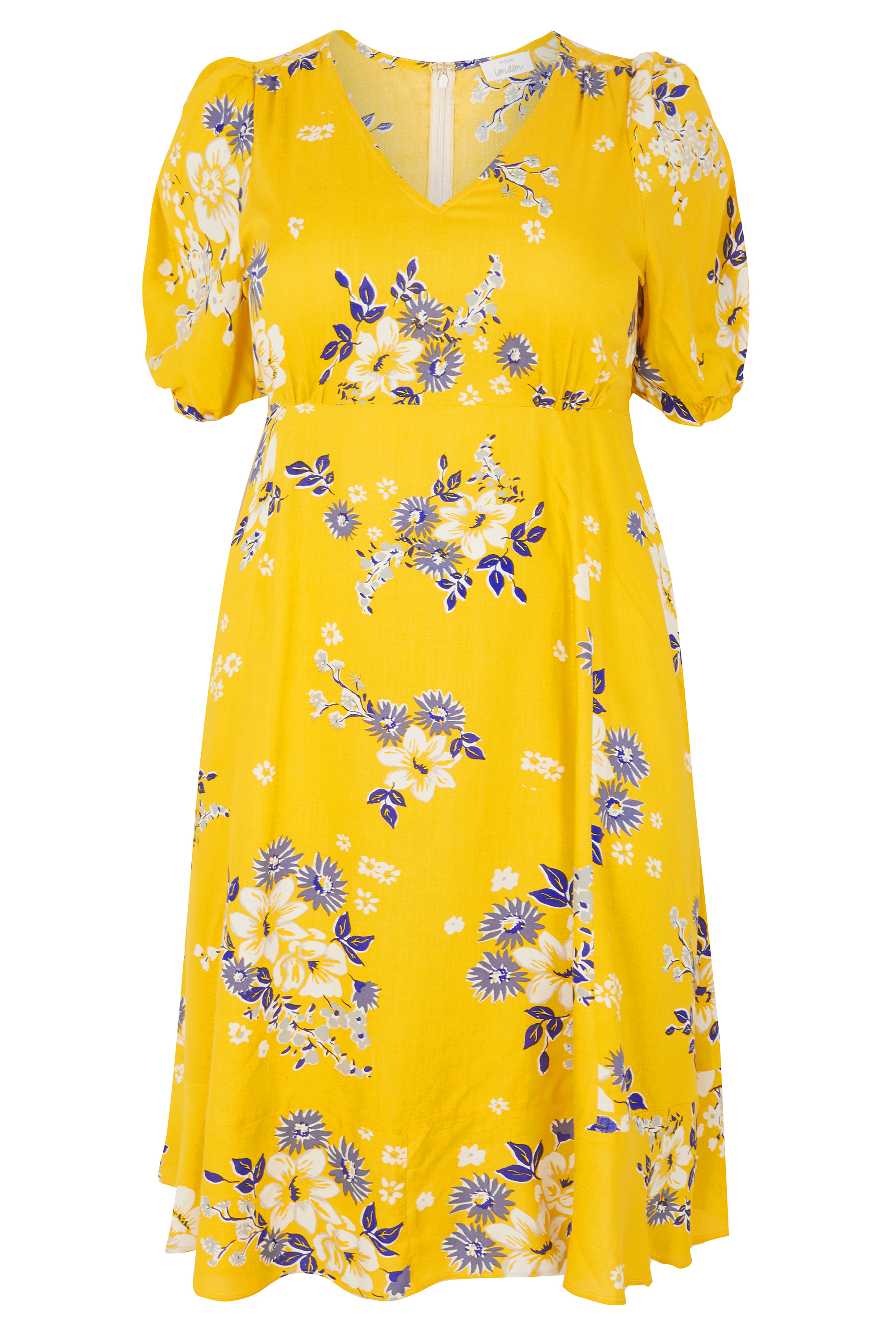 Yours Clothing Yellow Floral Tea Dress