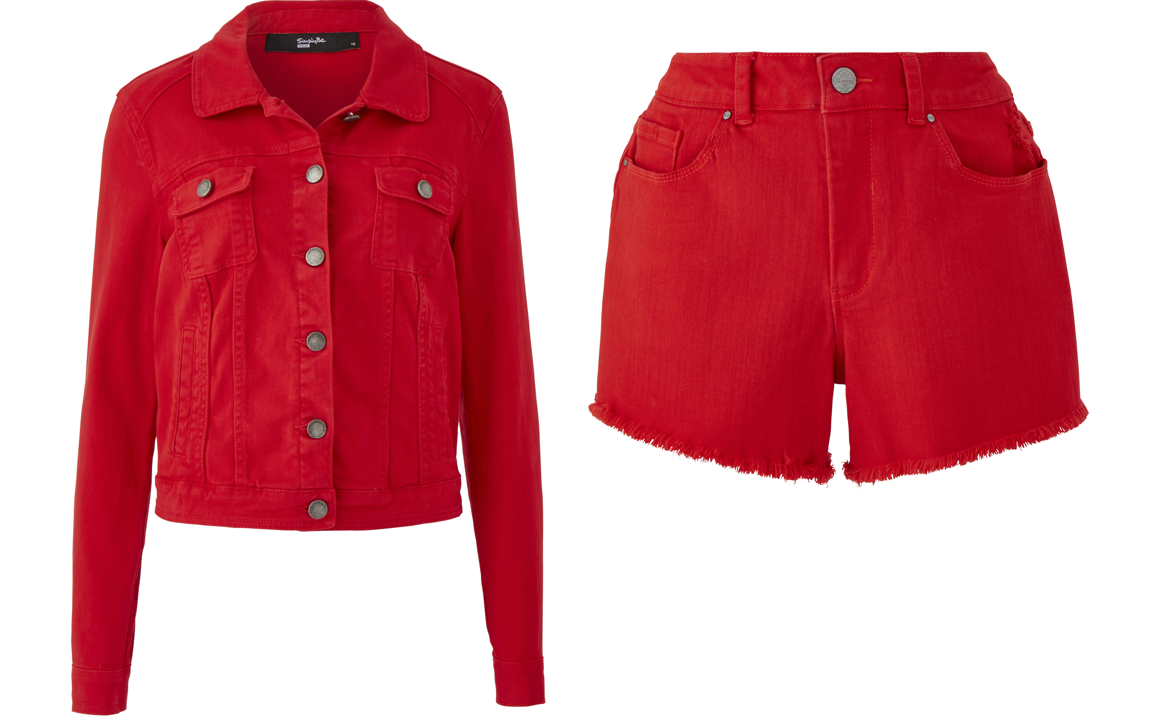 Simply Be Red Denim Jacket and Fern Distressed Denim Shorts