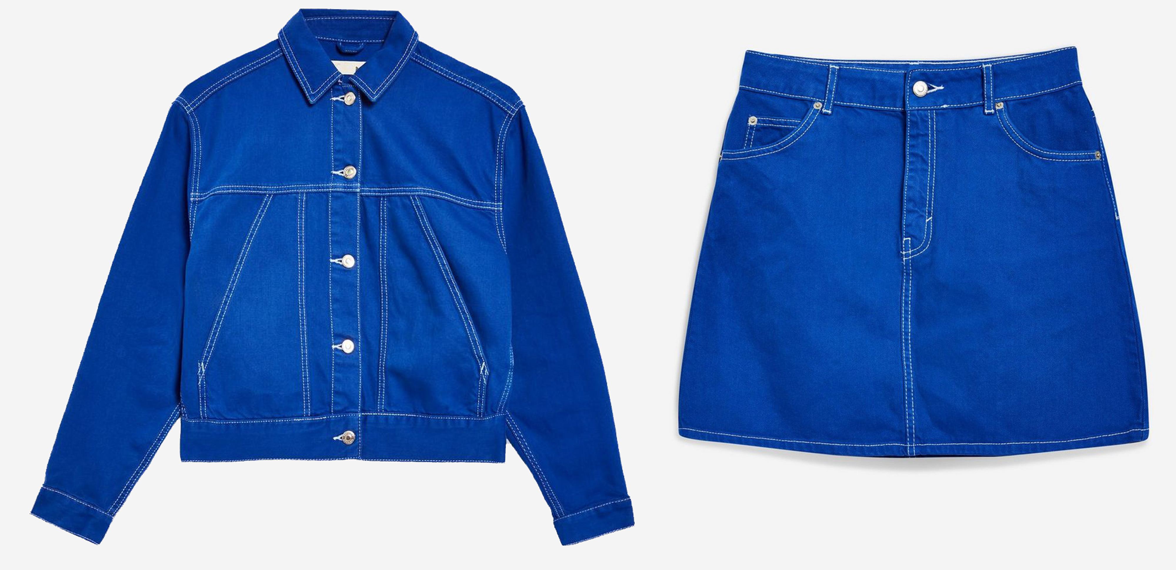 Topshop Cobalt Utility Denim Jacket and Blue Denim Skirt