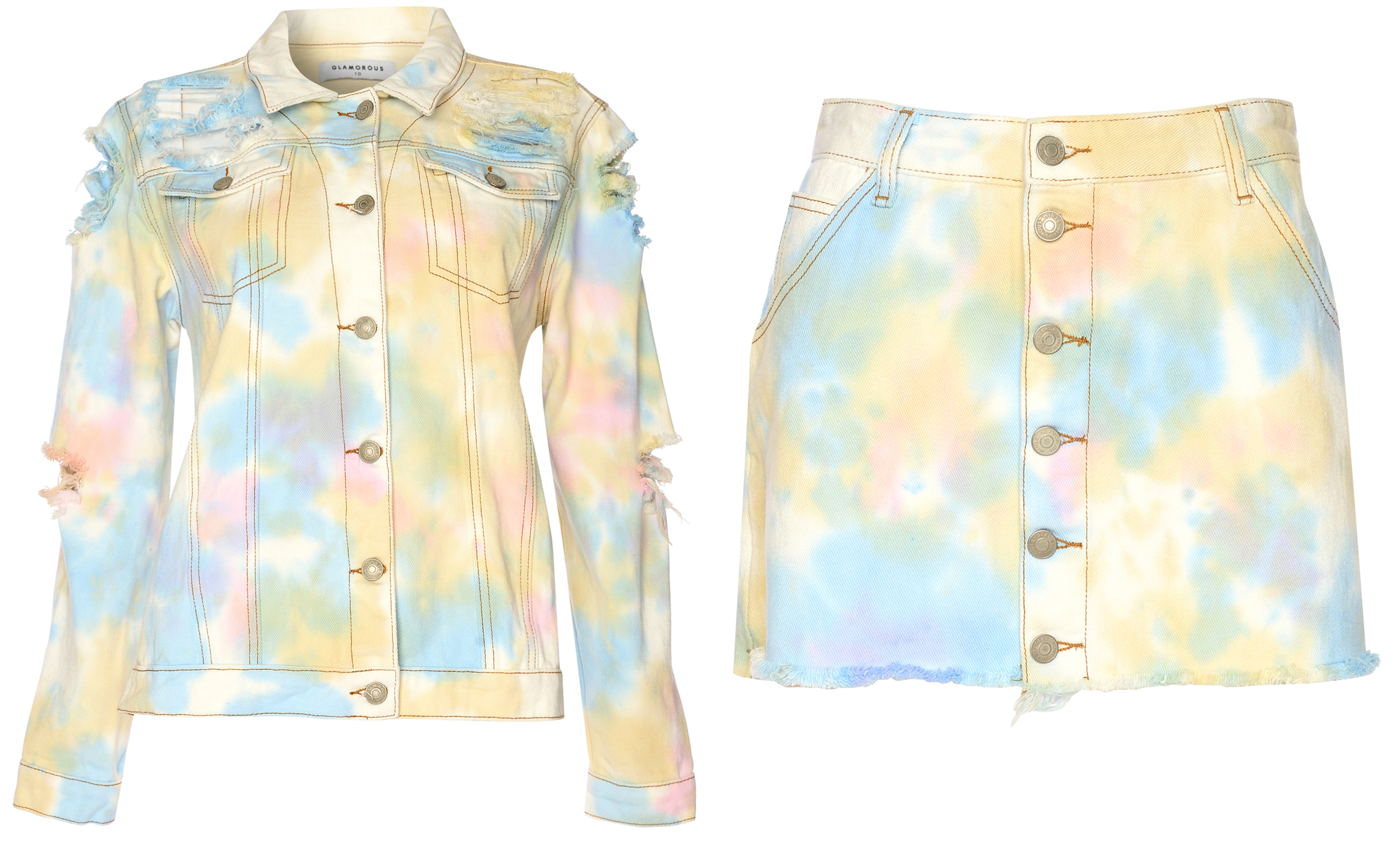 Glamorous Pastel Tie Dye Ripped Back Denim Jacket and Button Front Denim Skirt
