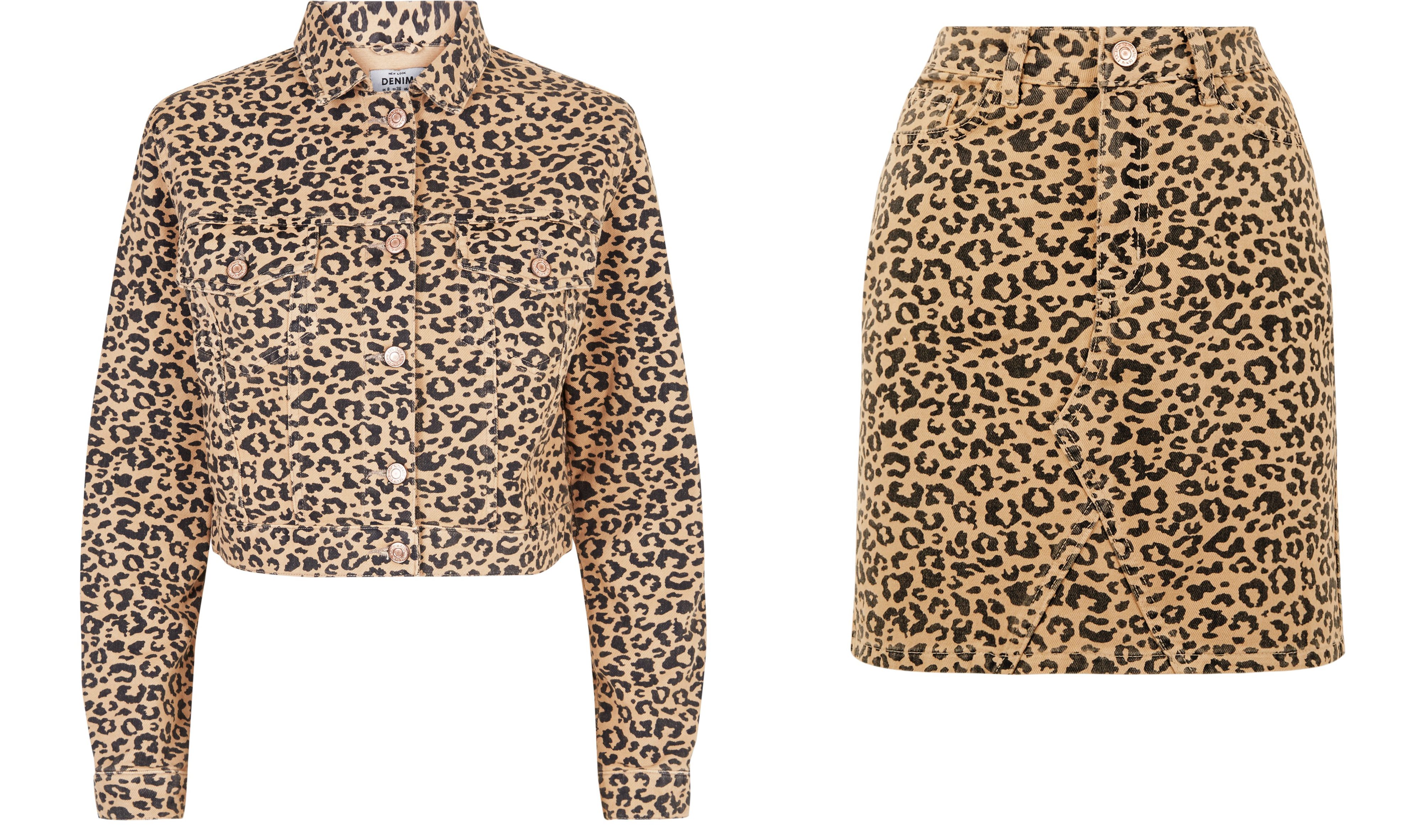 New Look Brown Leopard Print Cropped Denim Jacket and Tan Leopard Print Denim Mini Skirt