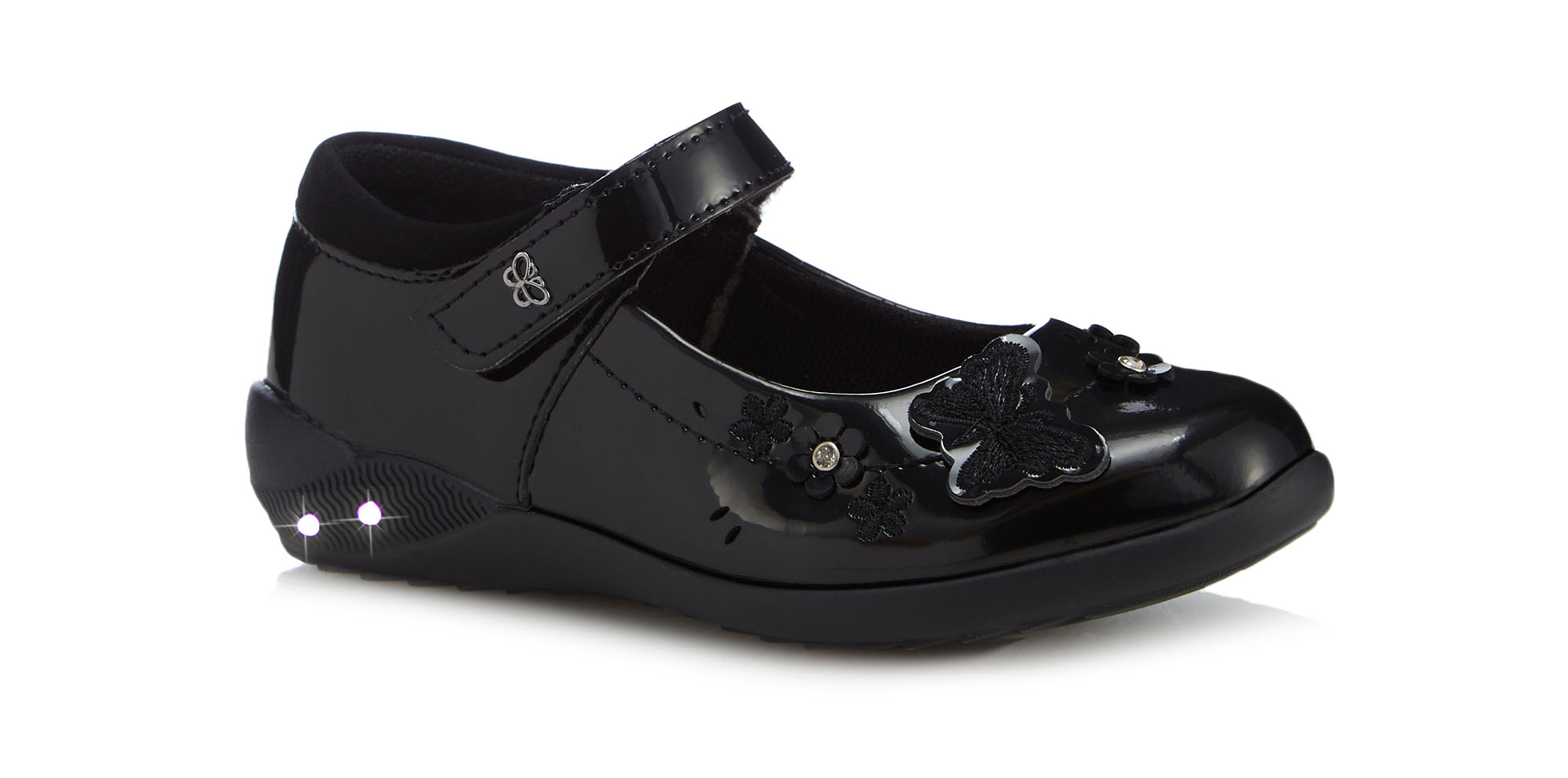Girls' black patent light up Mary Jane school shoes from £24, Debenhams