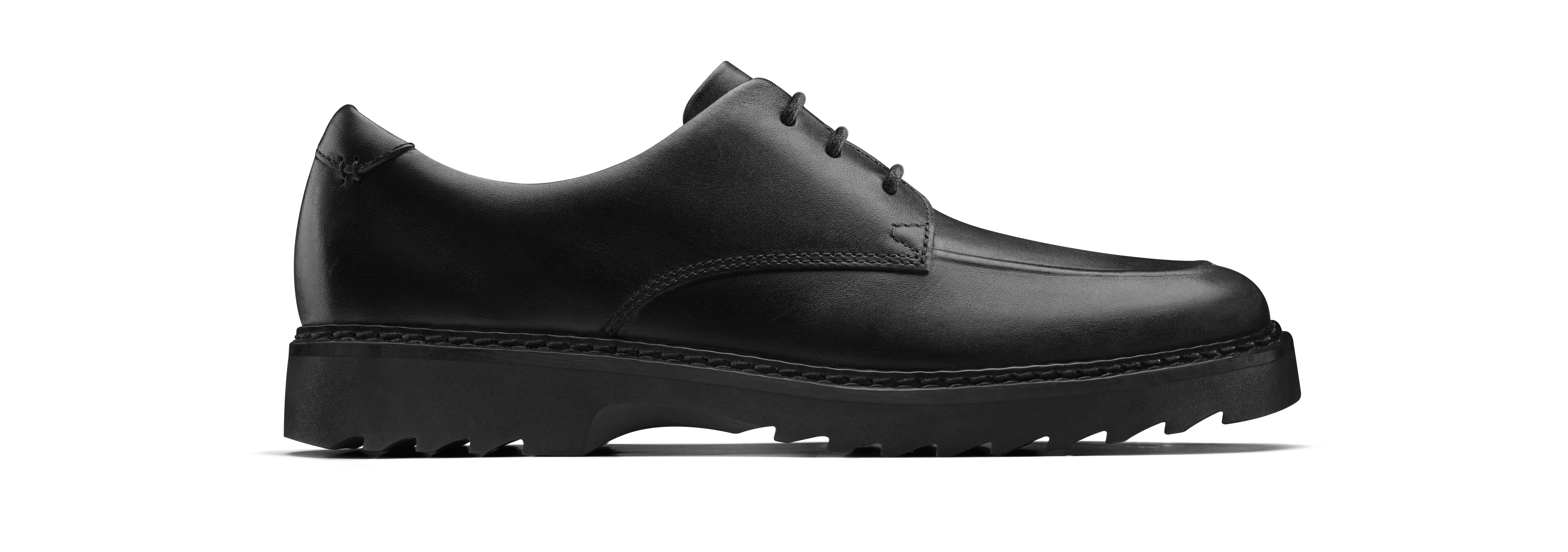 Asher Grove black leather school shoes, £60, Clarks