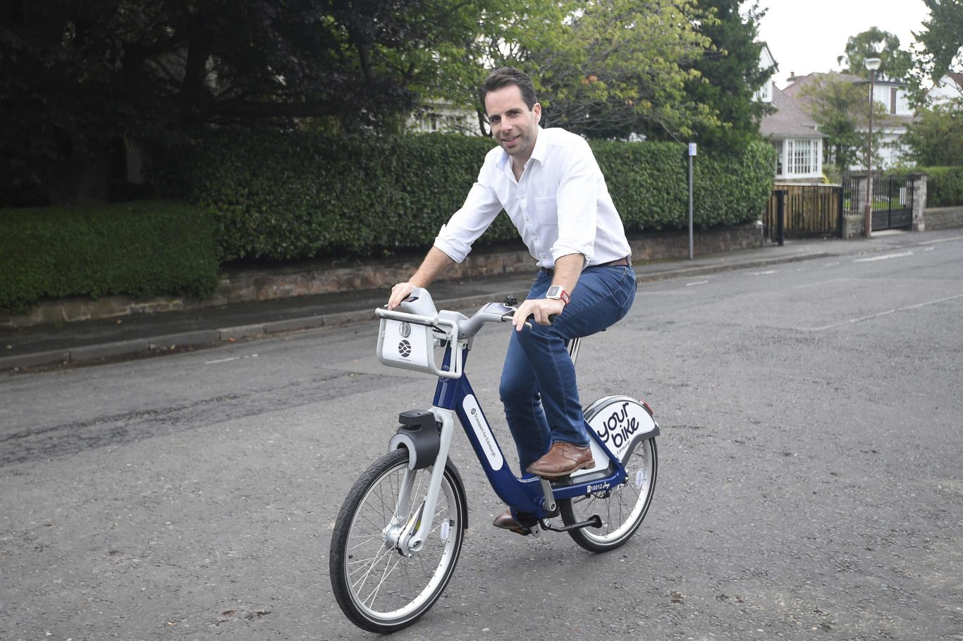 Mark Beaumont on one of the new Pashley bikes.