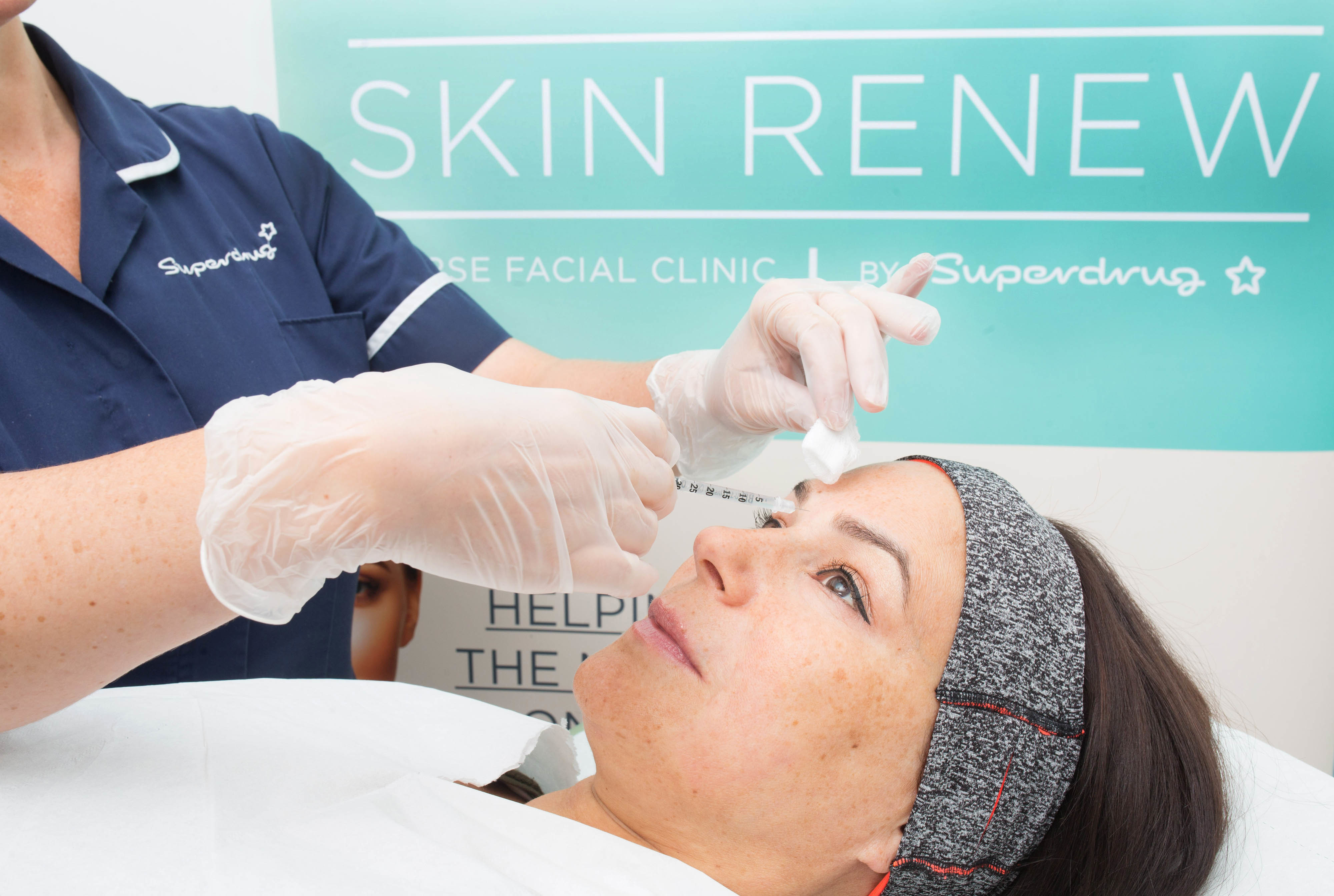 Lisa from London receives a treatment following a consultation with Superdrug nurse Rosie, as the high street retailer launches its Skin Renew Service, which will include anti-wrinkle and skin rejuvenation aesthetic treatments such as BOTOX and Juvederm dermal fillers