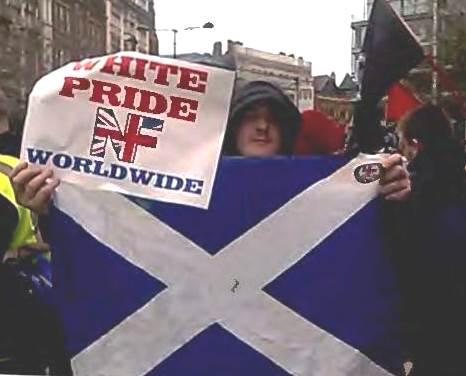 Morgan was pictured at a white pride rally