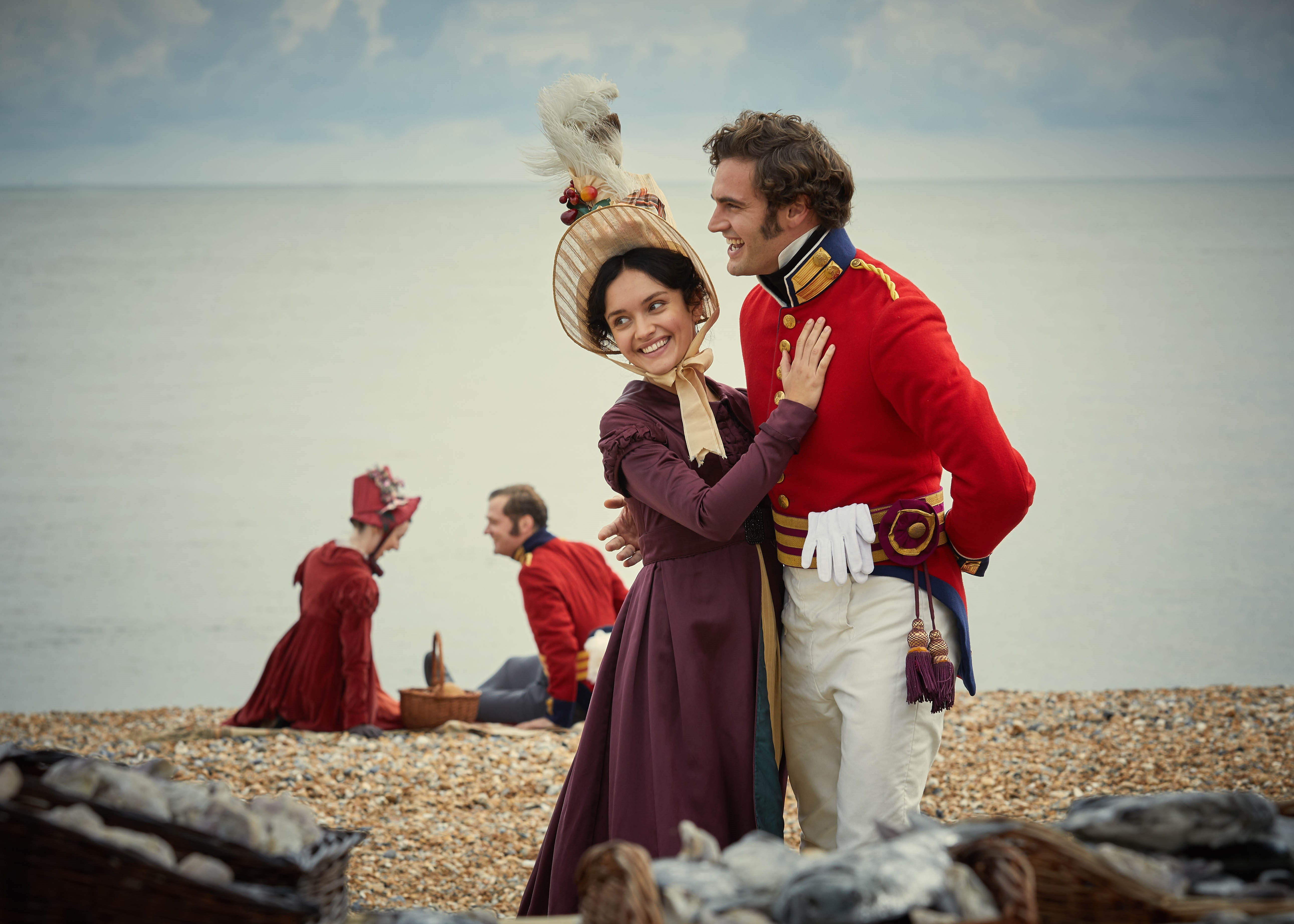 Olivia Cooke as Becky Sharp and Tom Bateman as Captain Radon
