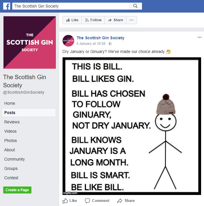 "This post suggested that ""Bill"" was smart for drinking gin instead of abstaining from alcohol"