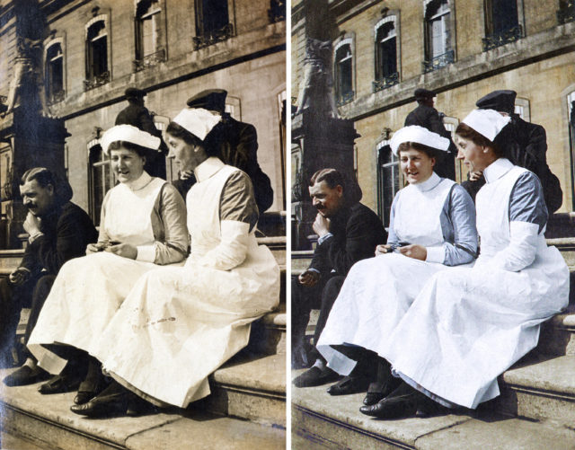 Nurse Given and Staff Sister Whyly pictured on the terrace (London Metropolitan Archives/Royal Sun Alliance/coloured by Marina Amaral, commissioned by English Heritage/PA)