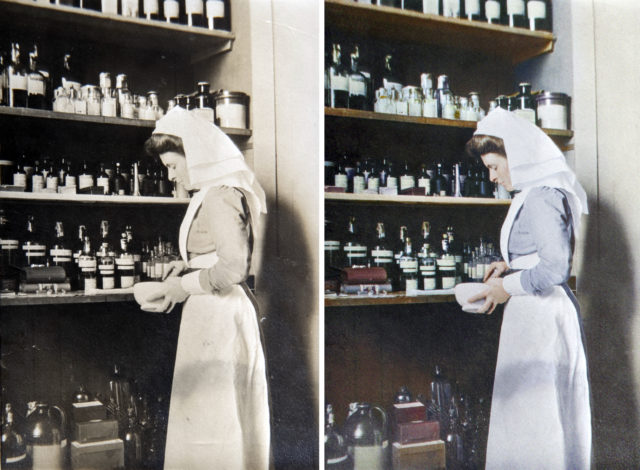 Sister Warner is pictured taking medicines from the dispensary (Private Collection/coloured by Marina Amaral, commissioned by English Heritage/PA)