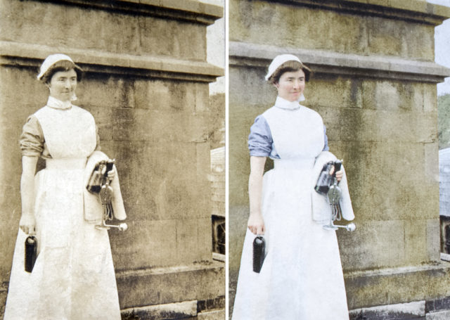 Nurse Phillburn was one of the many nurses who served at Wrest Park (Private Collection/coloured by Marina Amaral, commissioned by English Heritage/PA)
