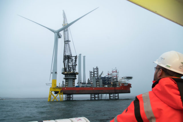 A turbine is installed at the European Offshore Wind Deployment Centre