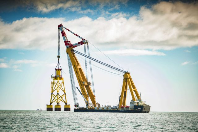 Work to install turbines at the European Offshore Wind Deployment Centre