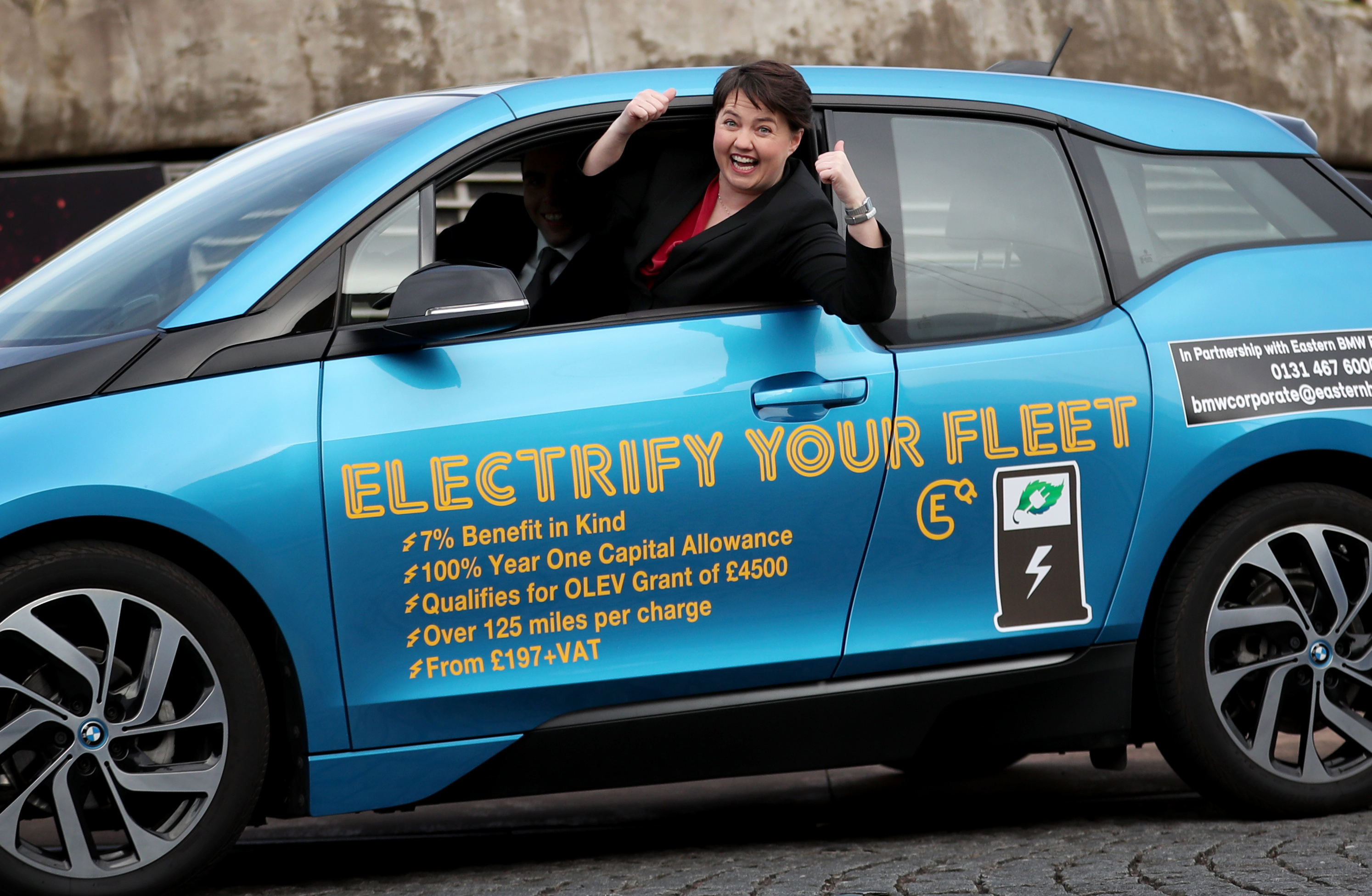 Ruth Davidson in electric car